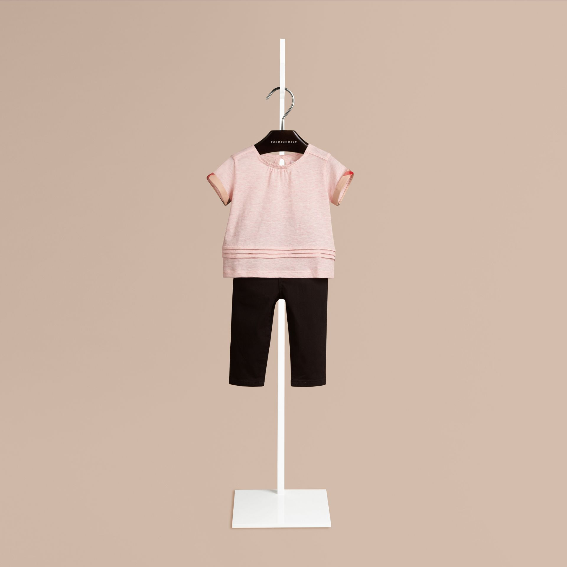 Chalk pink melange Pleat Detail Check Cotton T-shirt - gallery image 1