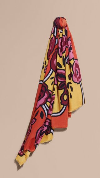 Abstract Floral Cashmere Scarf