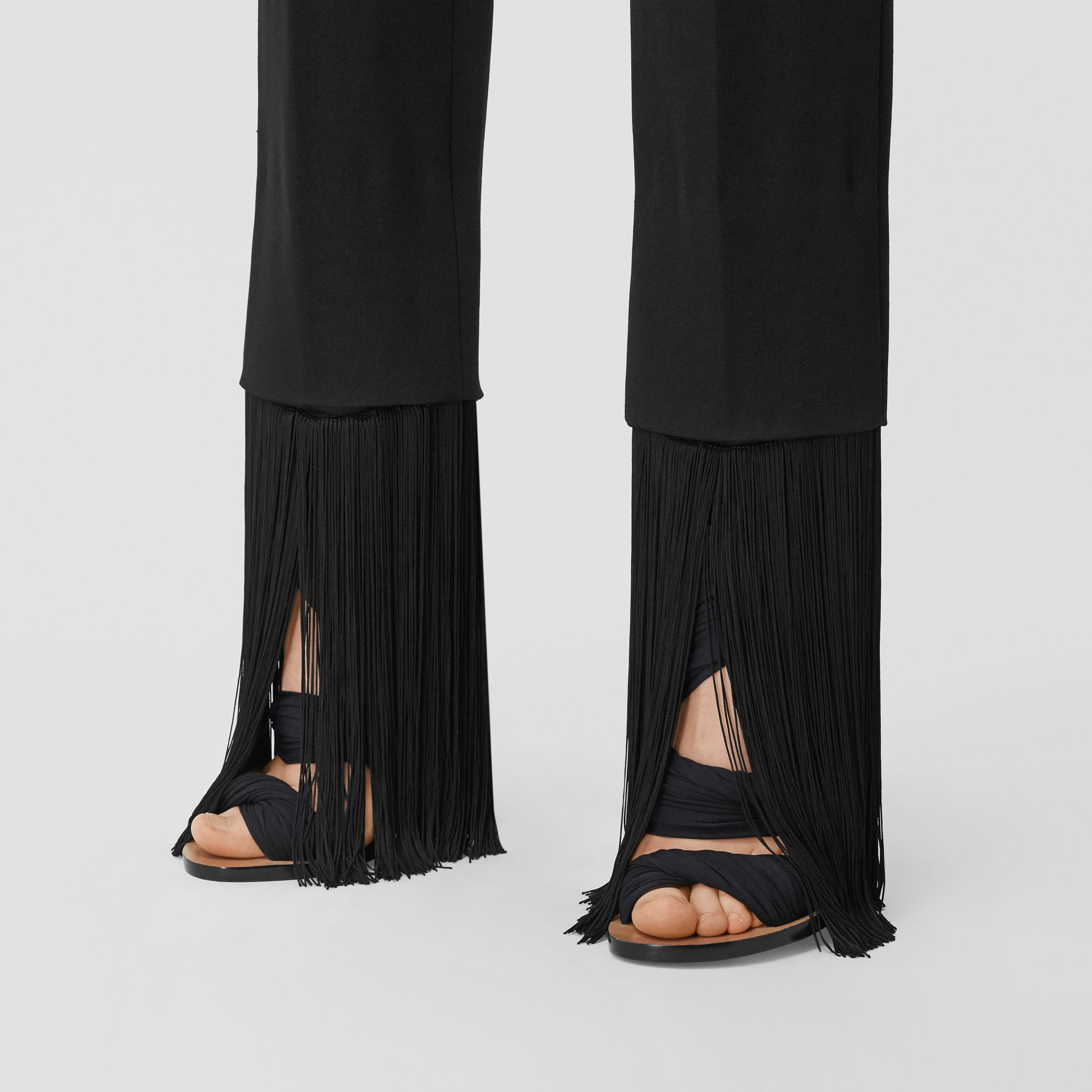 Fringed Grain De Poudre Wool Tailored Trousers in Black - Women | Burberry - 2