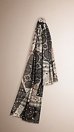 Patchwork Lace Print Check Wool Silk Scarf
