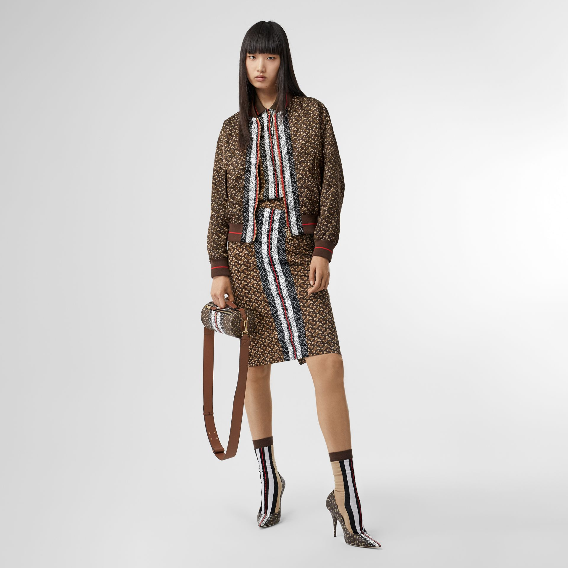 Monogram Stripe Print Nylon Bomber Jacket in Bridle Brown - Women | Burberry - gallery image 0