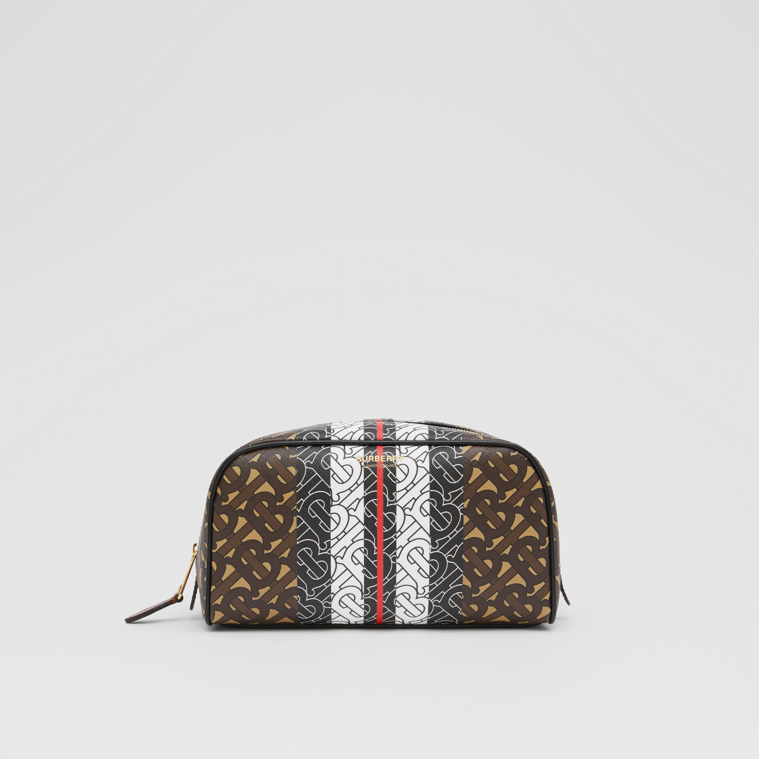 Monogram Stripe E-canvas Travel Pouch in Bridle Brown - Women | Burberry United Kingdom - 1