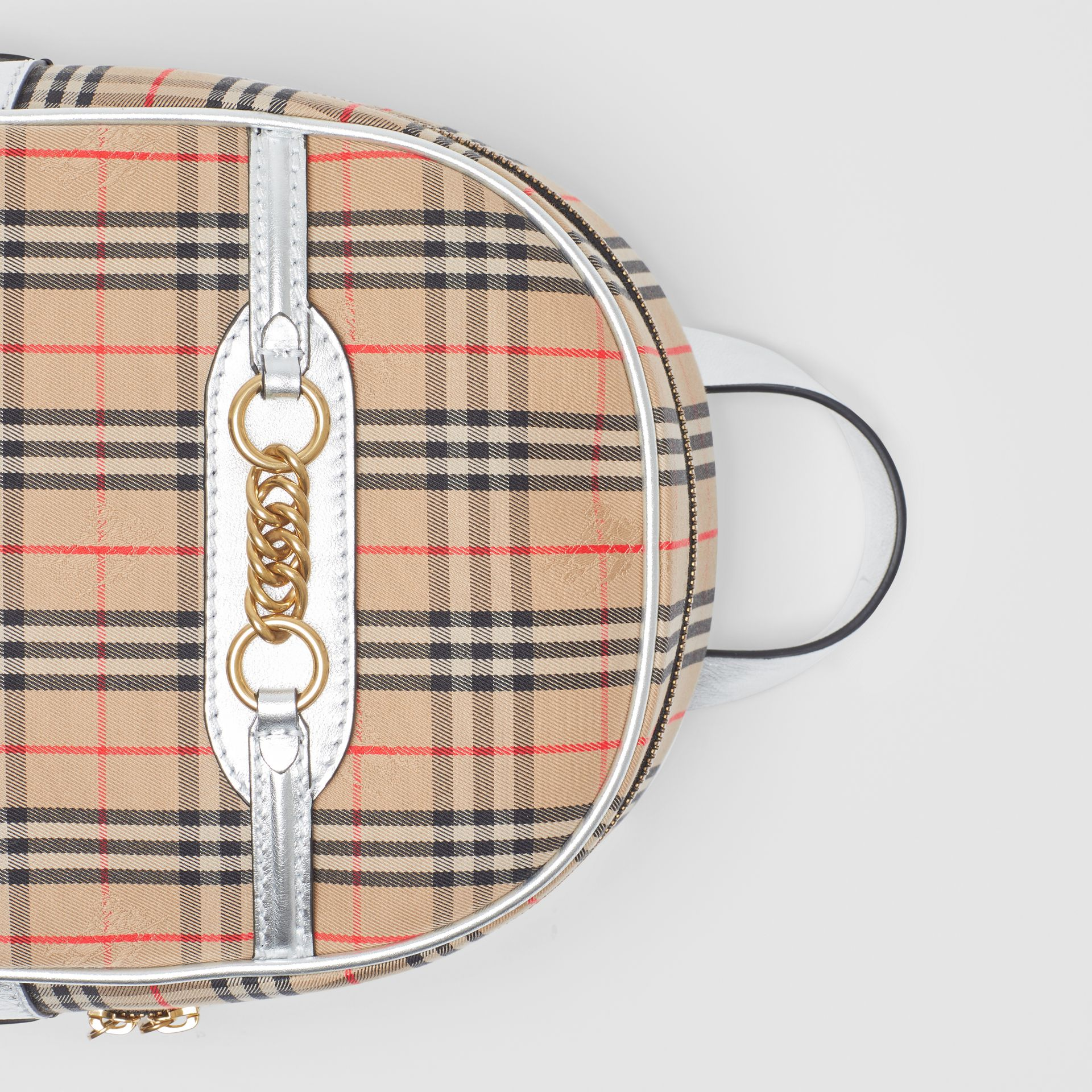 The 1983 Check Link Backpack in Silver - Women | Burberry United Kingdom - gallery image 1