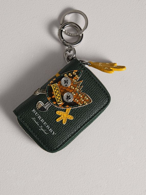 Creature Appliqué Leather Notebook Charm in Racing Green