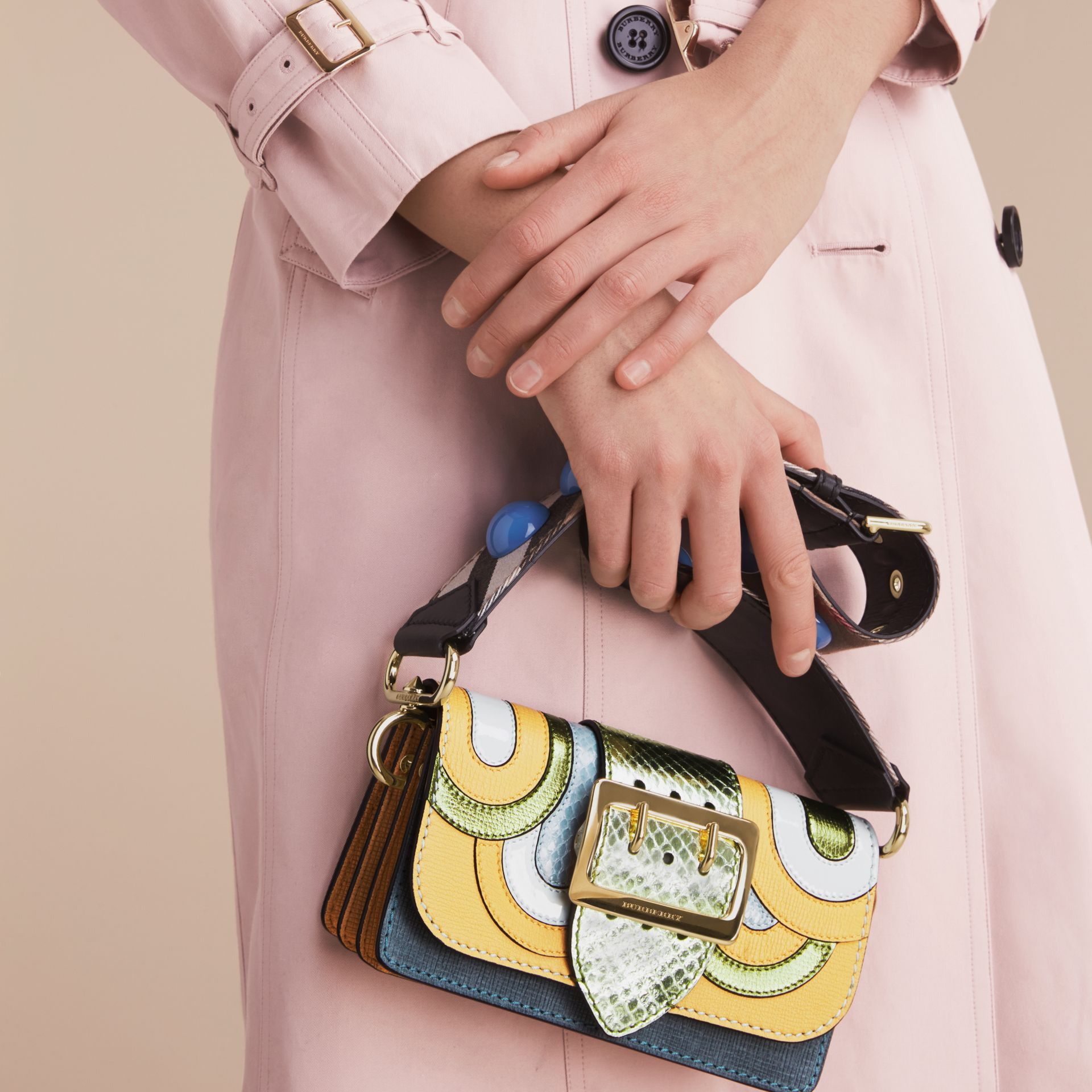 The Small Buckle Bag in Leather and Snakeskin Appliqué - gallery image 9