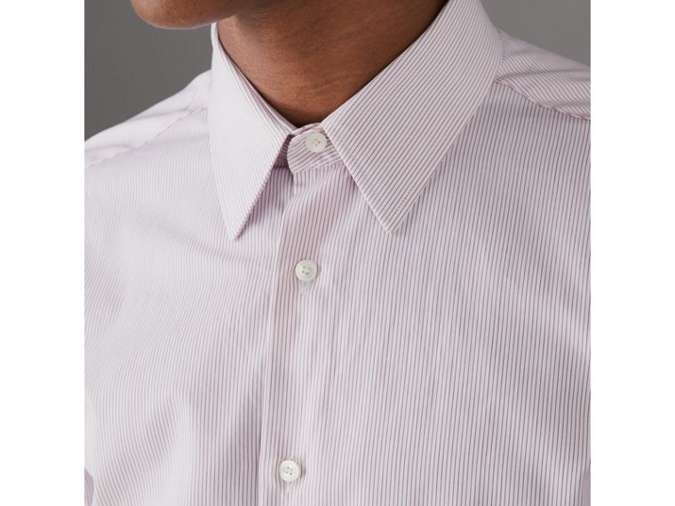 Slim Fit Striped Cotton Poplin Shirt in Burgundy - Men | Burberry - cell image 1