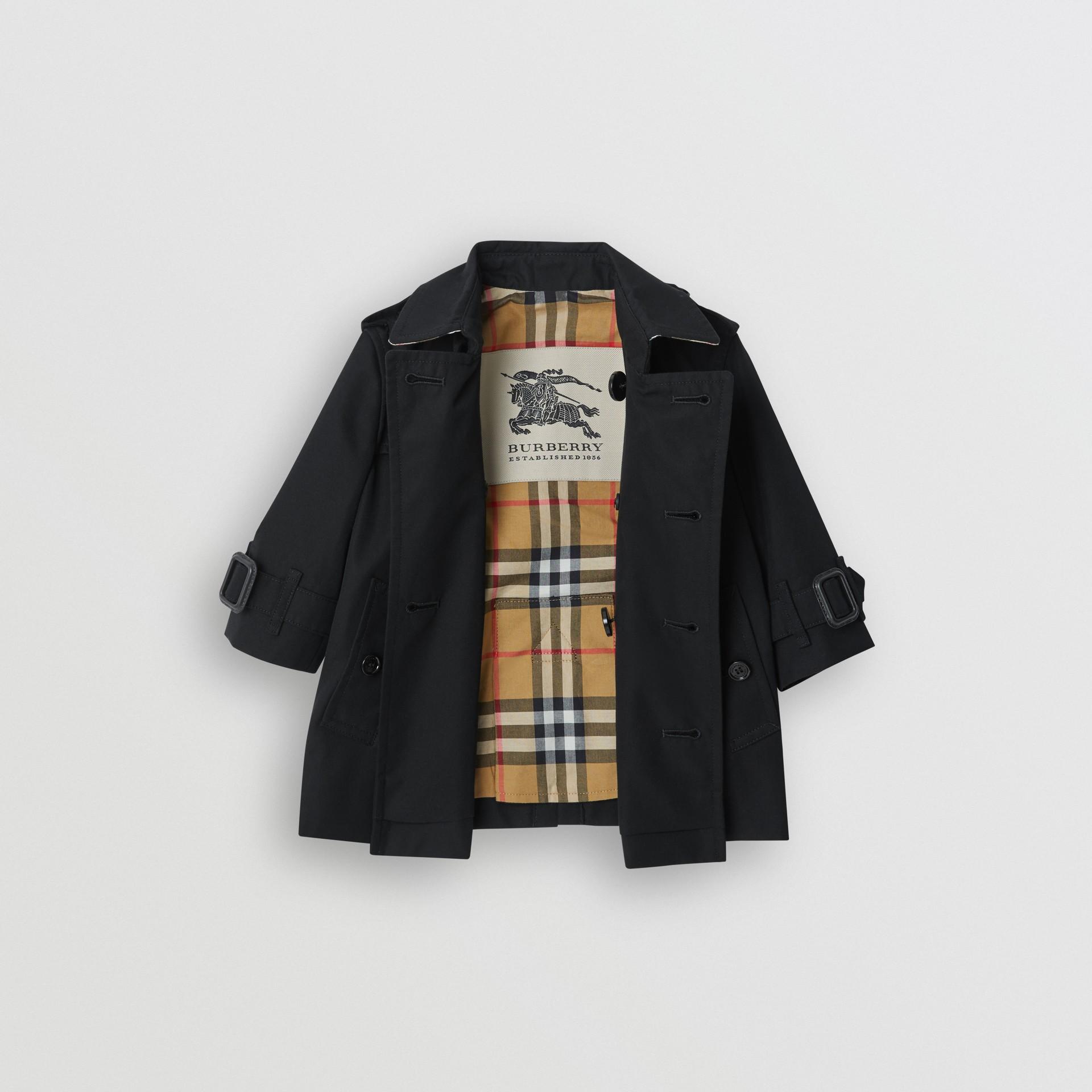 Cotton Gabardine Trench Coat in Black - Children | Burberry United Kingdom - gallery image 3