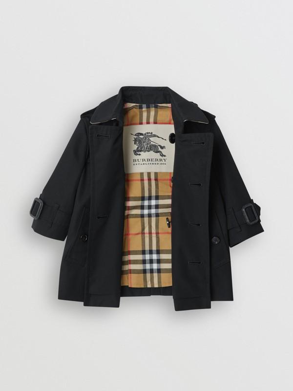 Cotton Gabardine Trench Coat in Black - Children | Burberry United Kingdom - cell image 3
