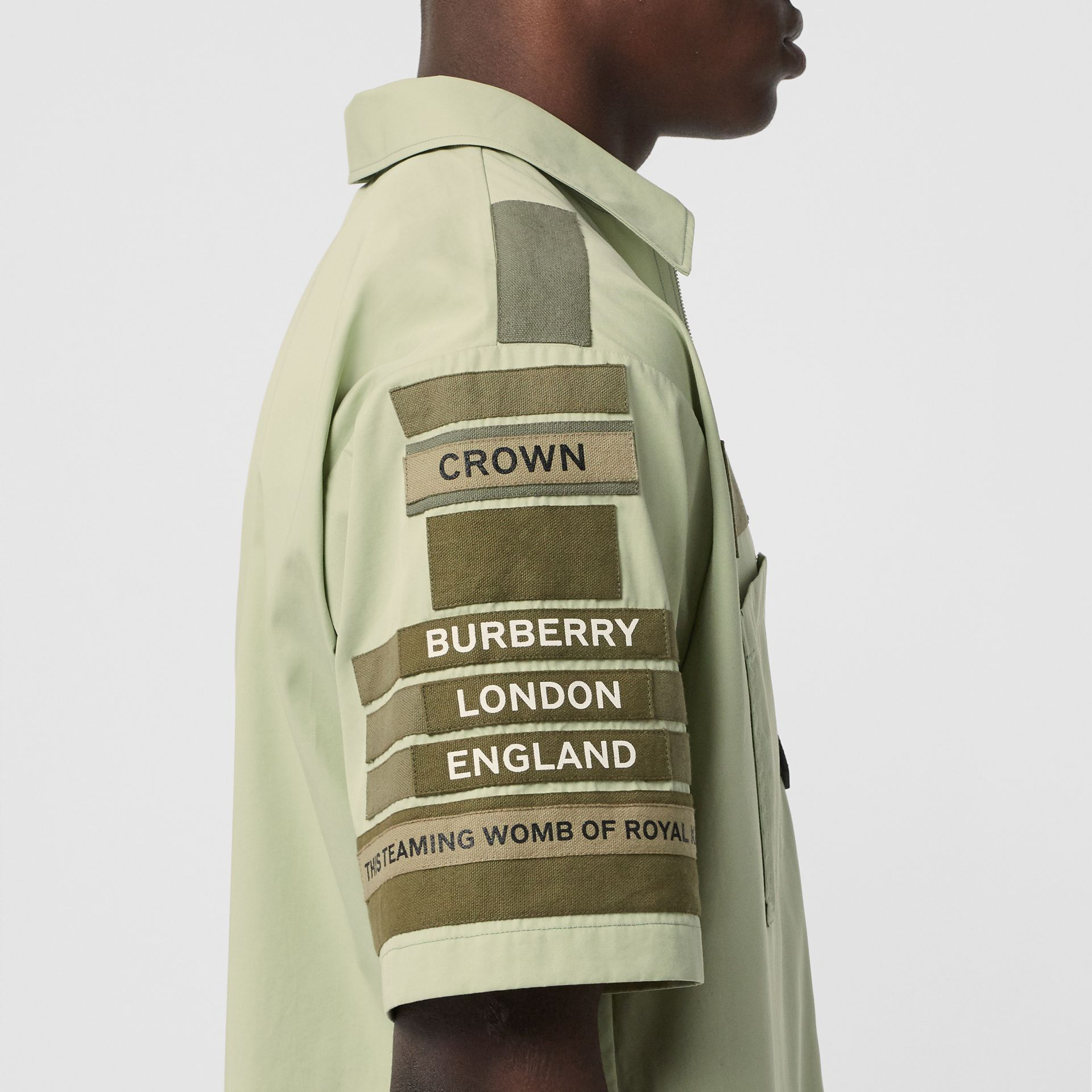 Short-sleeve Montage Print Military Cotton Shirt in Matcha | Burberry - gallery image 4