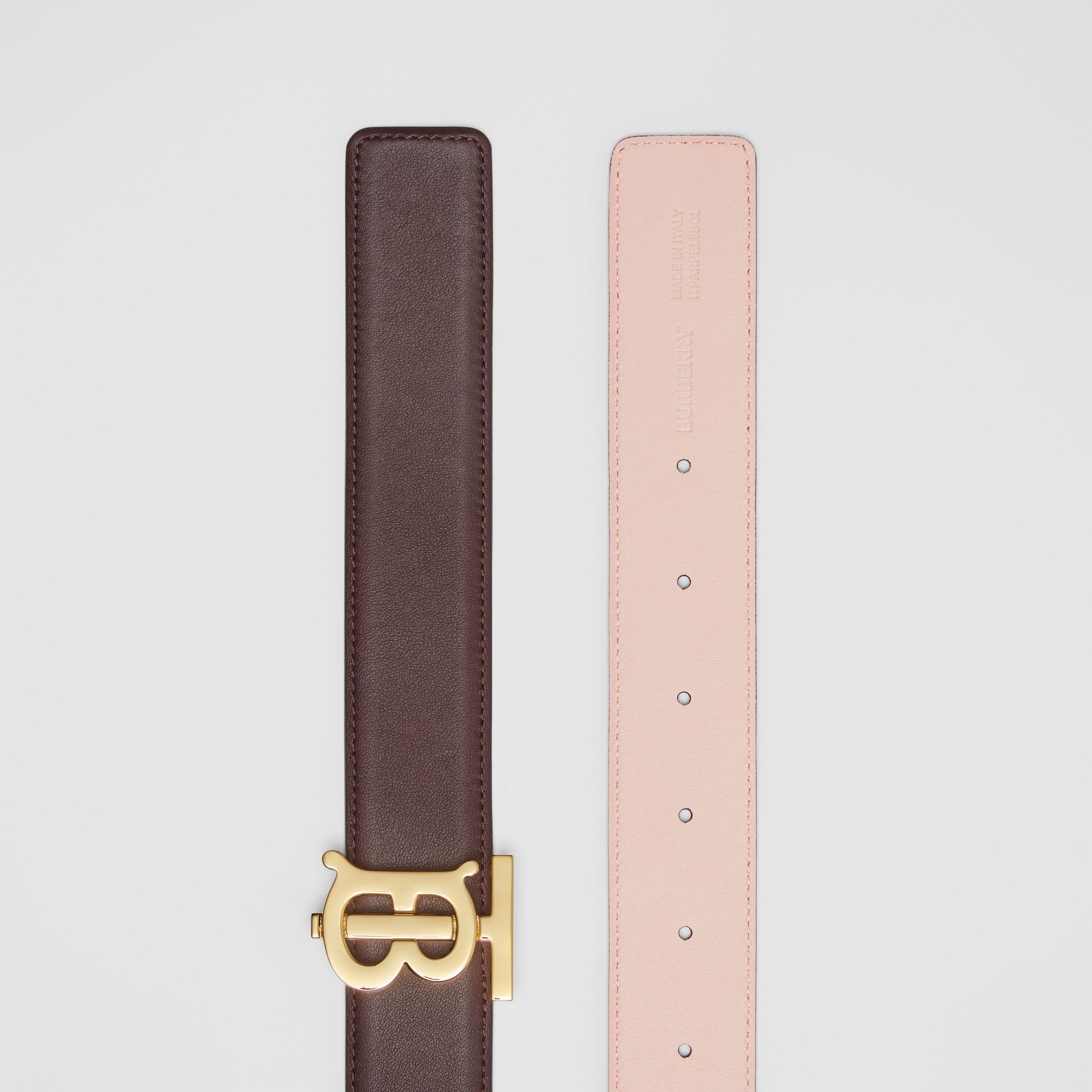 Reversible Monogram Motif Leather Belt in Oxblood/rose Beige - Women | Burberry - gallery image 6