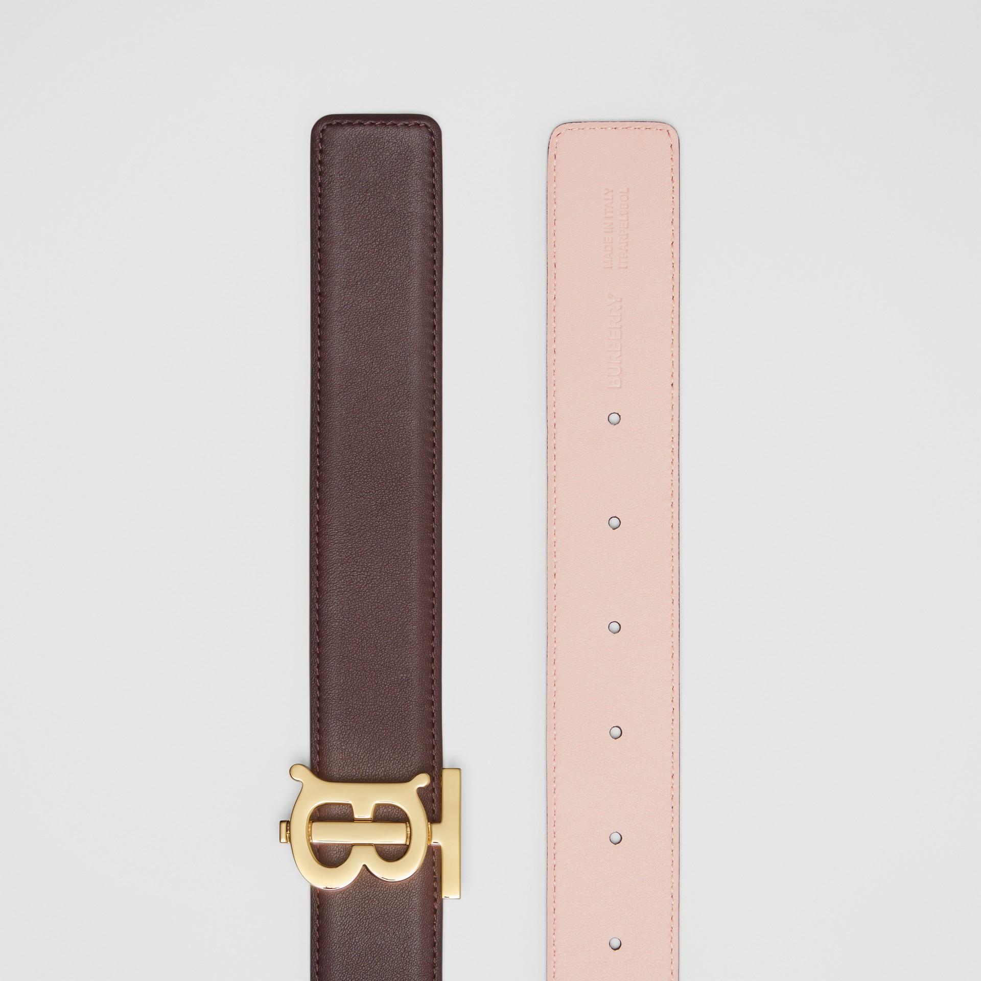 Reversible Monogram Motif Leather Belt in Oxblood/rose Beige - Women | Burberry - gallery image 6
