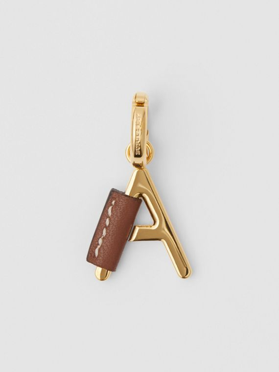 Leather-wrapped 'A' Alphabet Charm in Light Gold/tan
