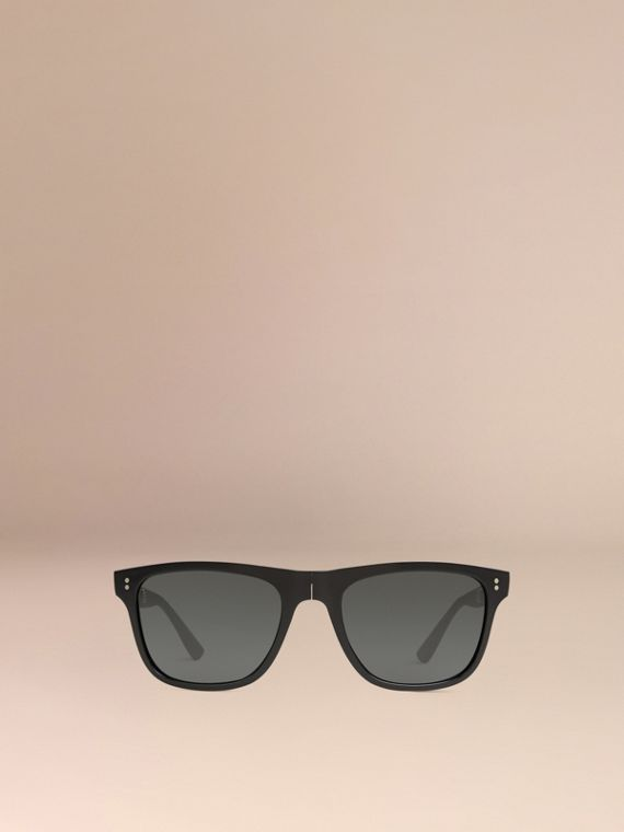 Black Folding Rectangular Frame Sunglasses Black - cell image 2