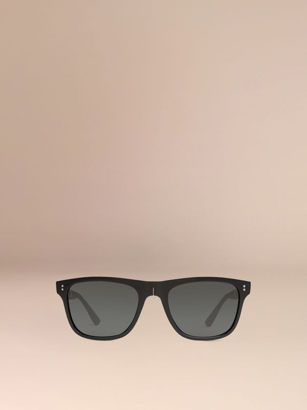 Folding Rectangular Frame Sunglasses in Black - Men | Burberry United Kingdom - cell image 2