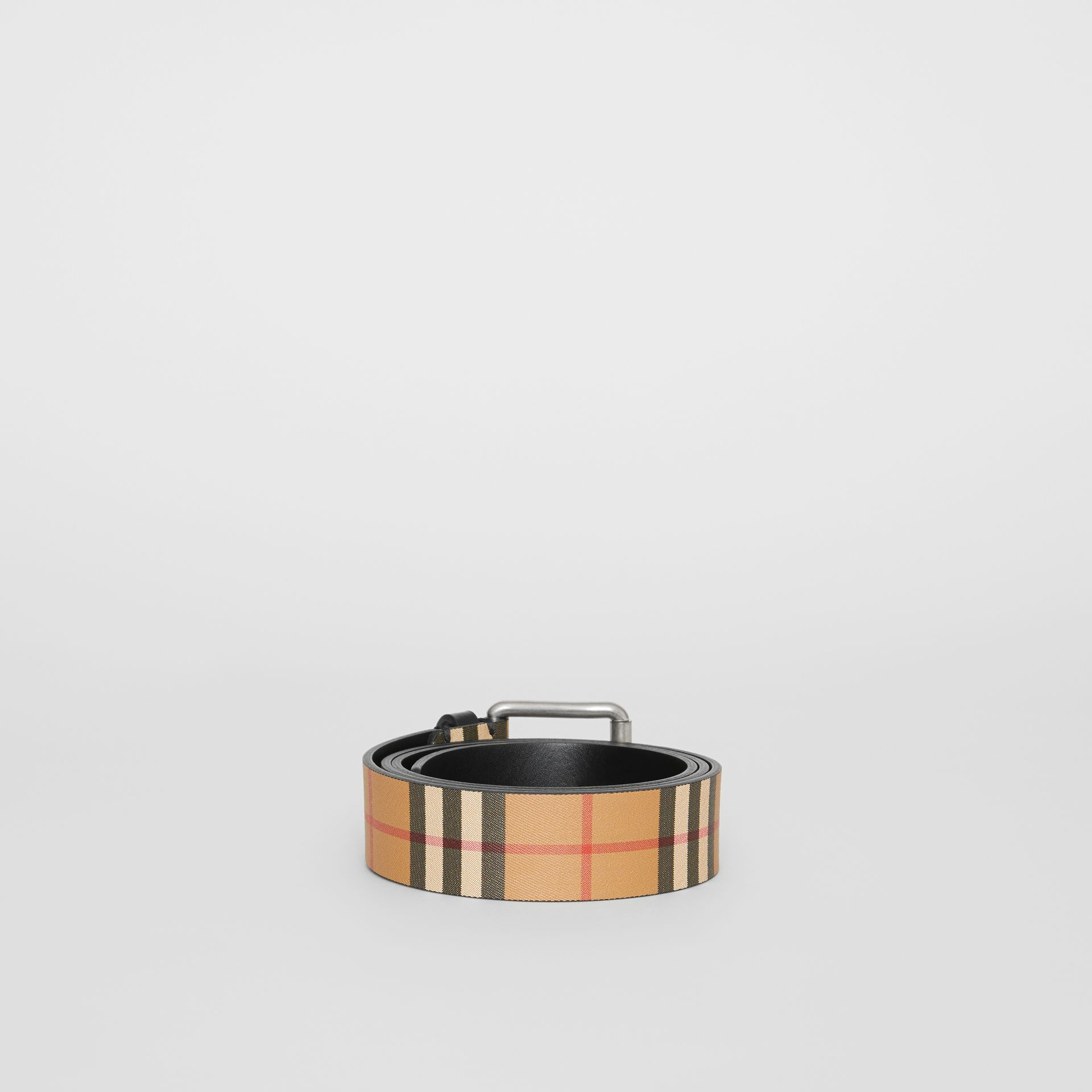 Vintage Check Leather Belt in Black - Men | Burberry Canada - gallery image 4