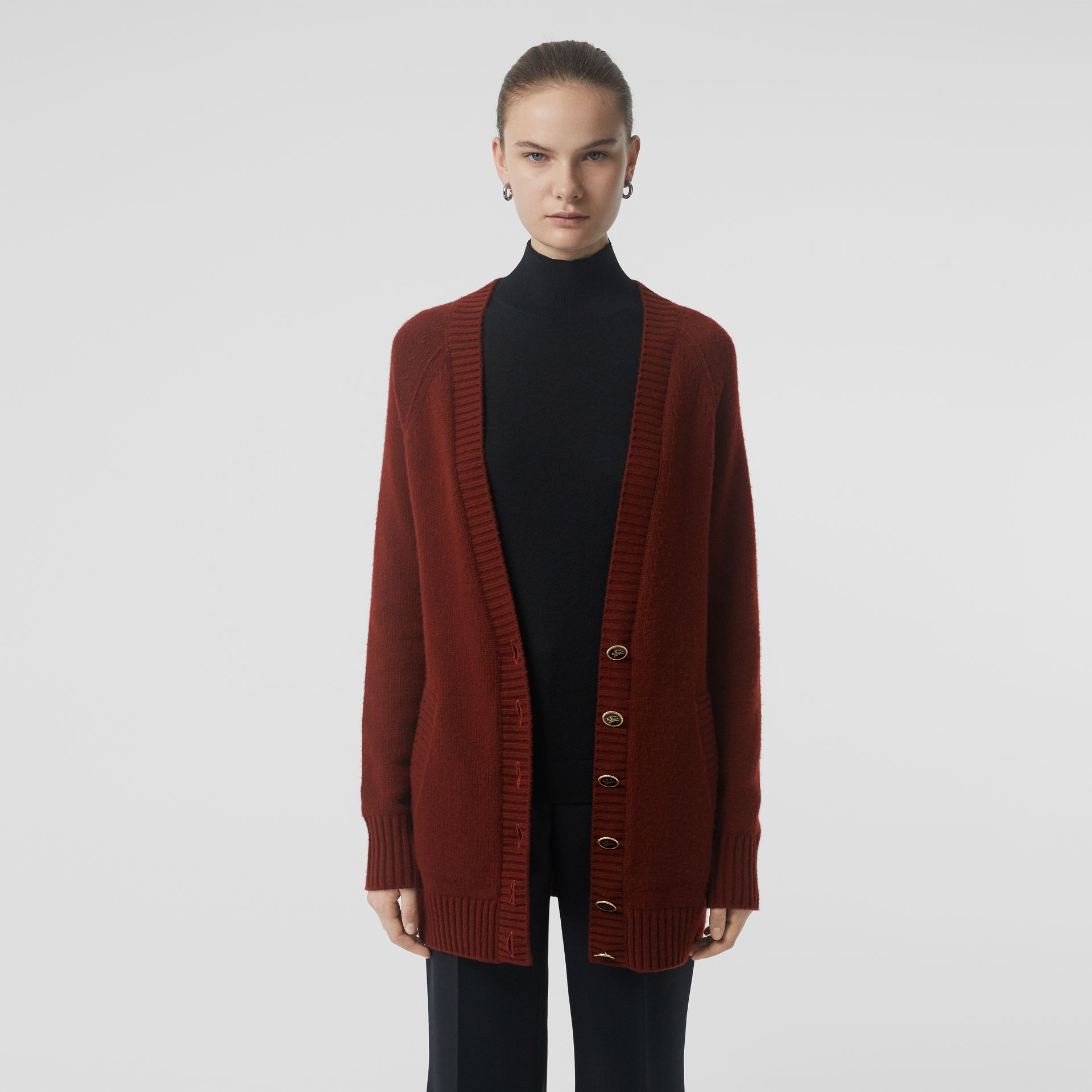 Logo Button Cashmere Cardigan in Dark Russet Brown - Women | Burberry Singapore - gallery image 4