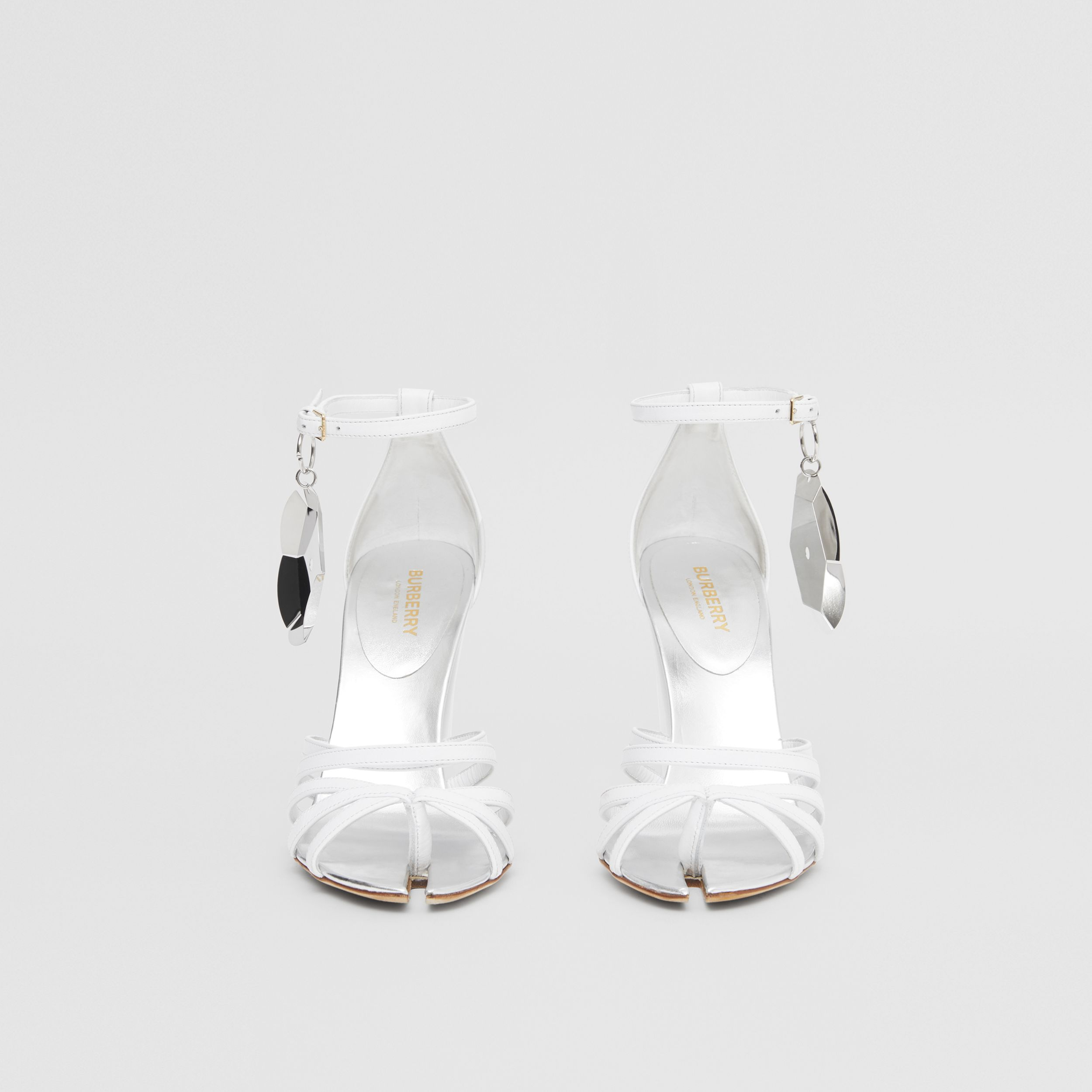 Split-toe Detail Leather Sandals in Optic White - Women | Burberry - 3