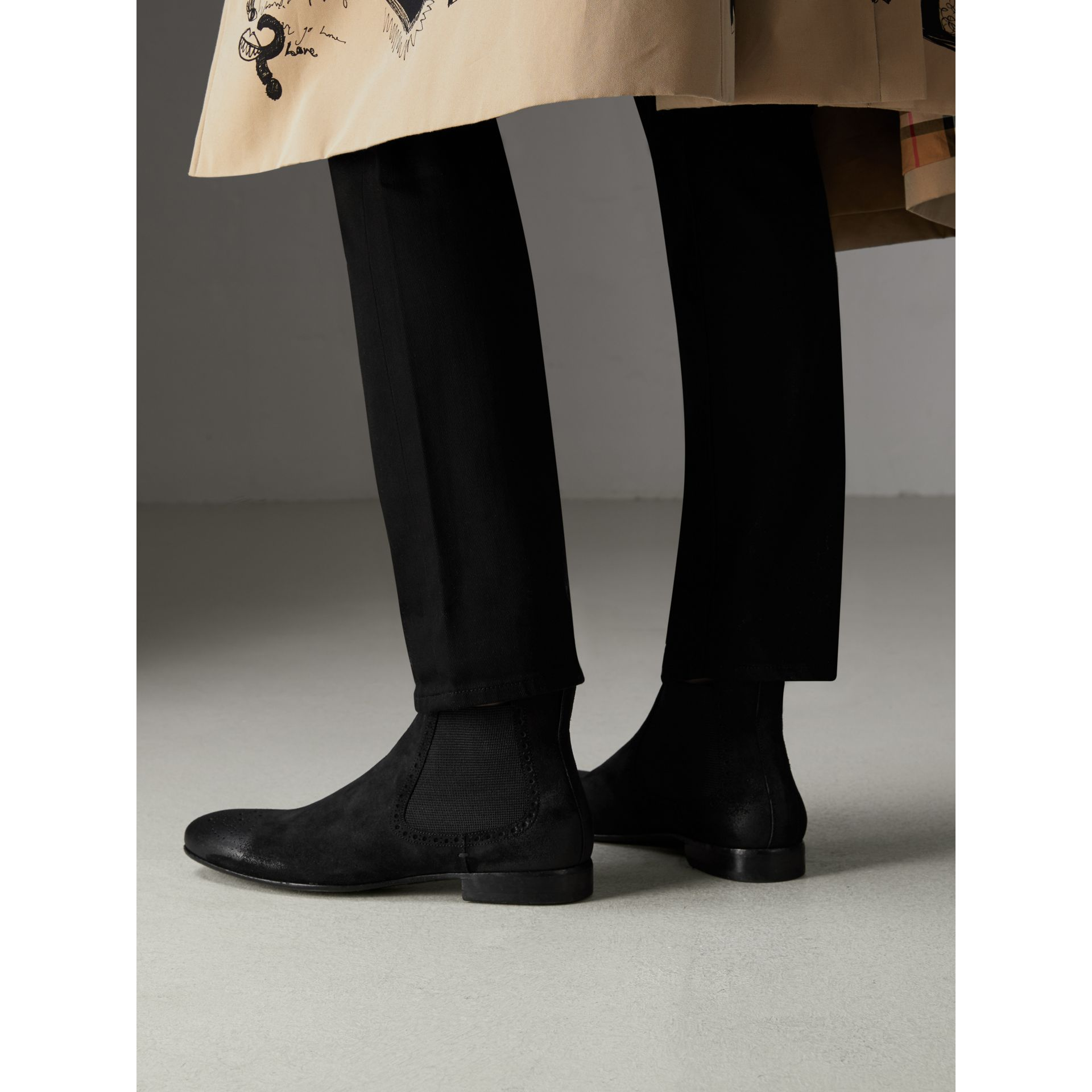 Brogue Detail Suede Chelsea Boots in Black - Men | Burberry - gallery image 2