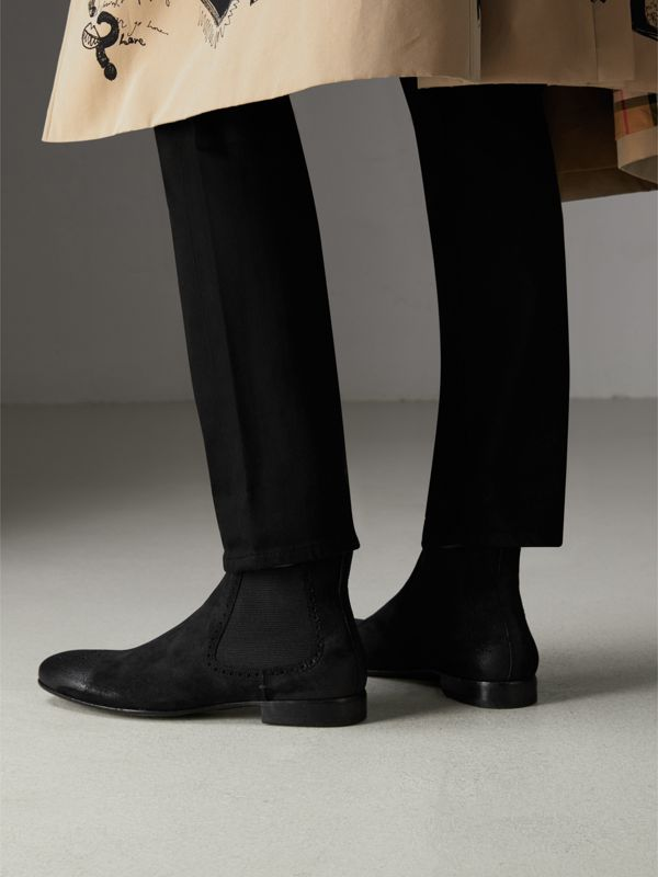 Brogue Detail Suede Chelsea Boots in Black - Men | Burberry Singapore - cell image 2