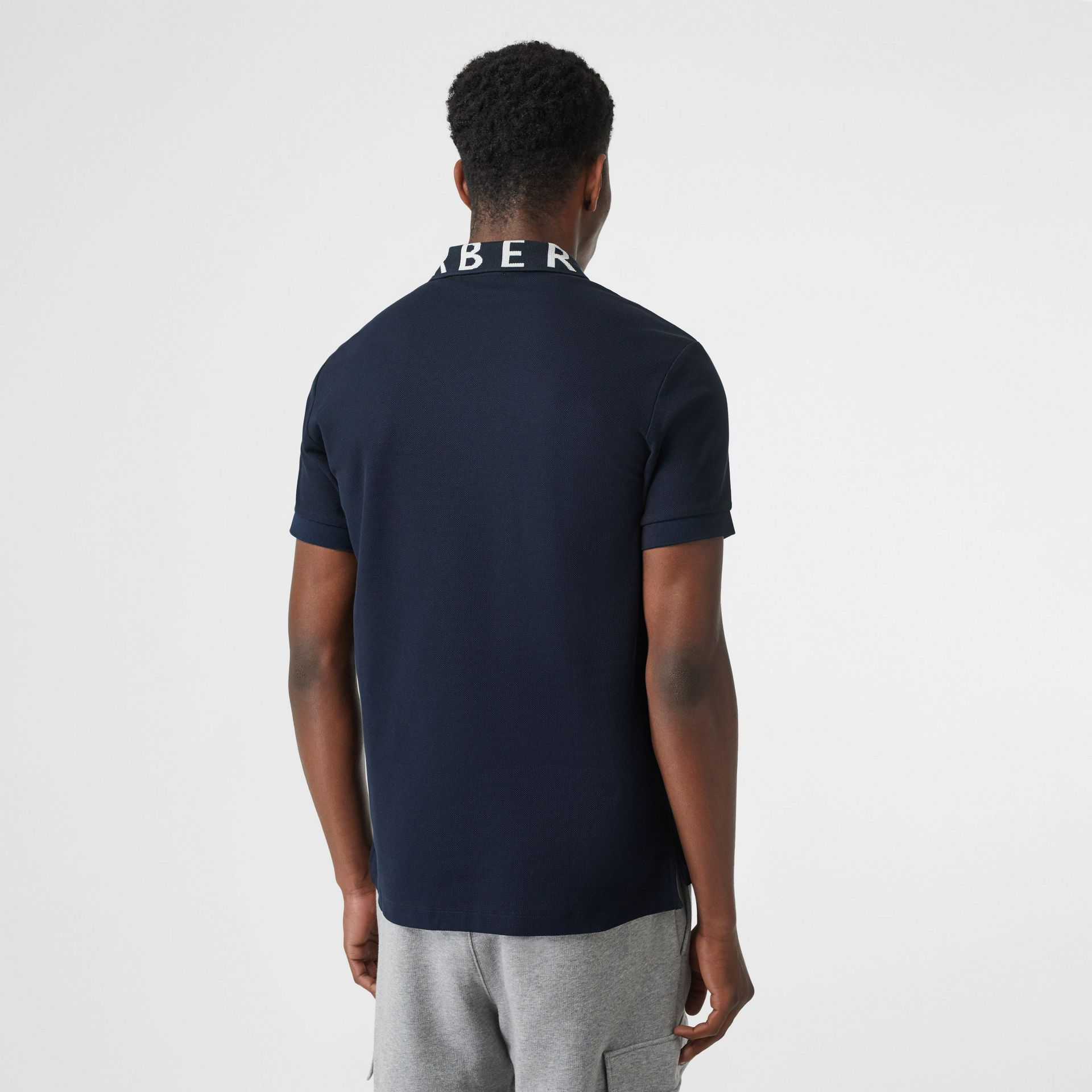 Logo Intarsia Cotton Piqué Polo Shirt in Navy - Men | Burberry - gallery image 2