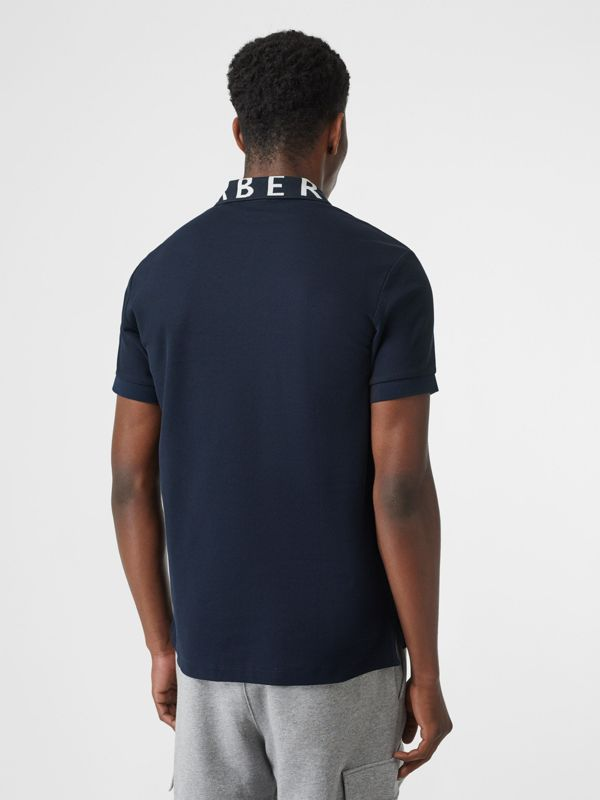 Logo Intarsia Cotton Piqué Polo Shirt in Navy - Men | Burberry - cell image 2