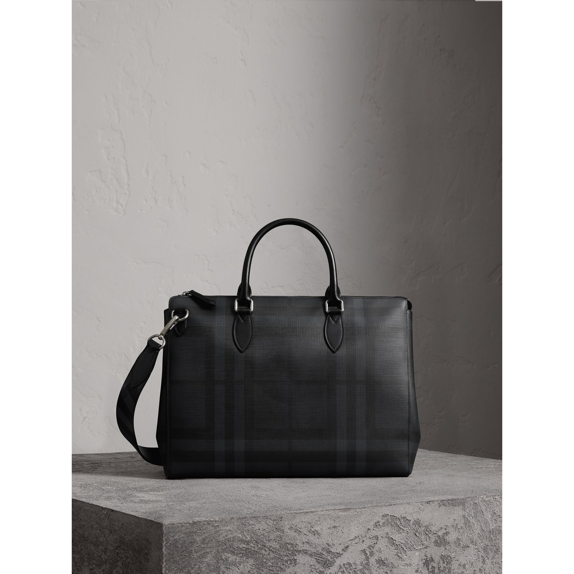 Large London Check Briefcase in Charcoal/black - Men | Burberry - gallery image 1