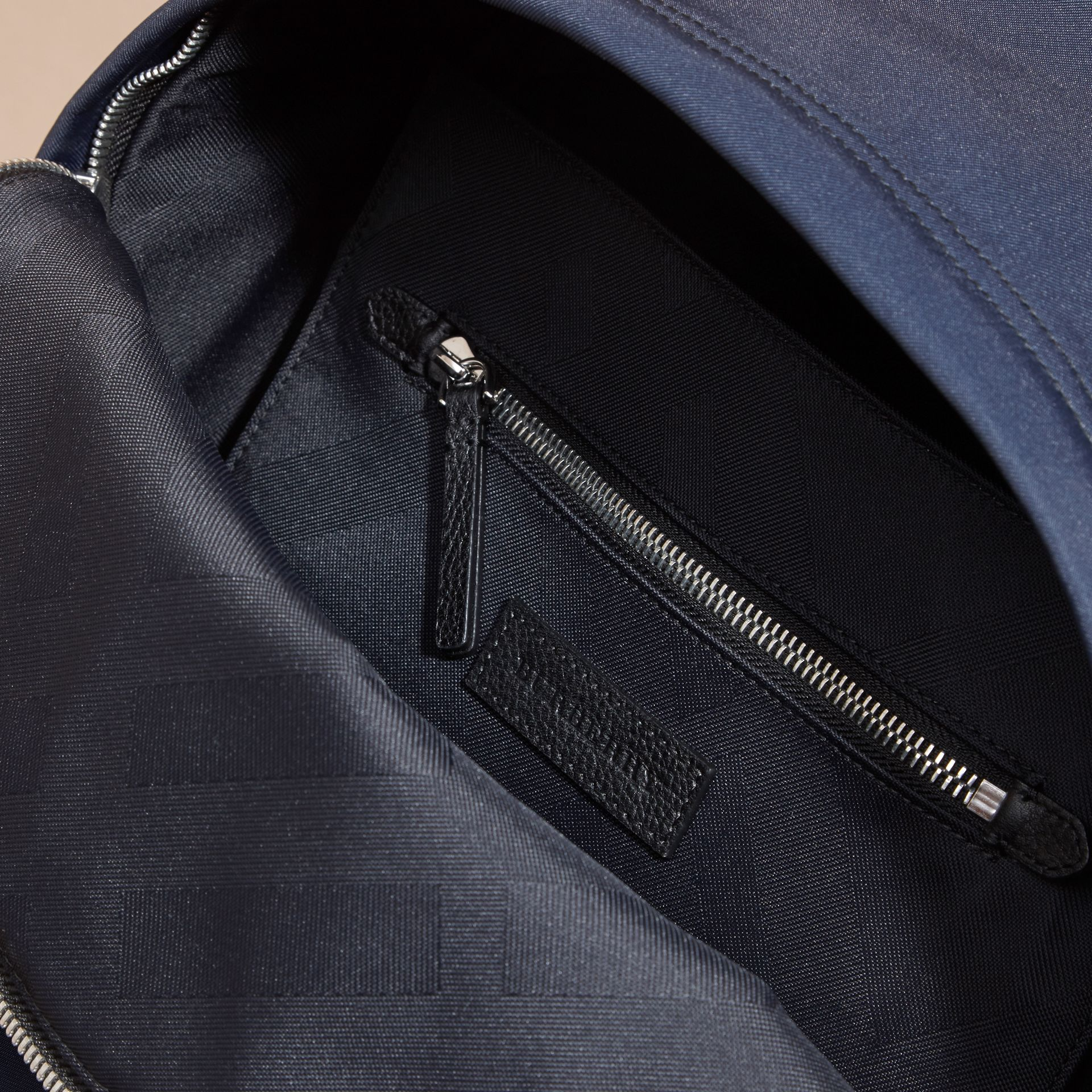 Leather Trim Technical Backpack in Dark Navy - Men | Burberry Australia - gallery image 5