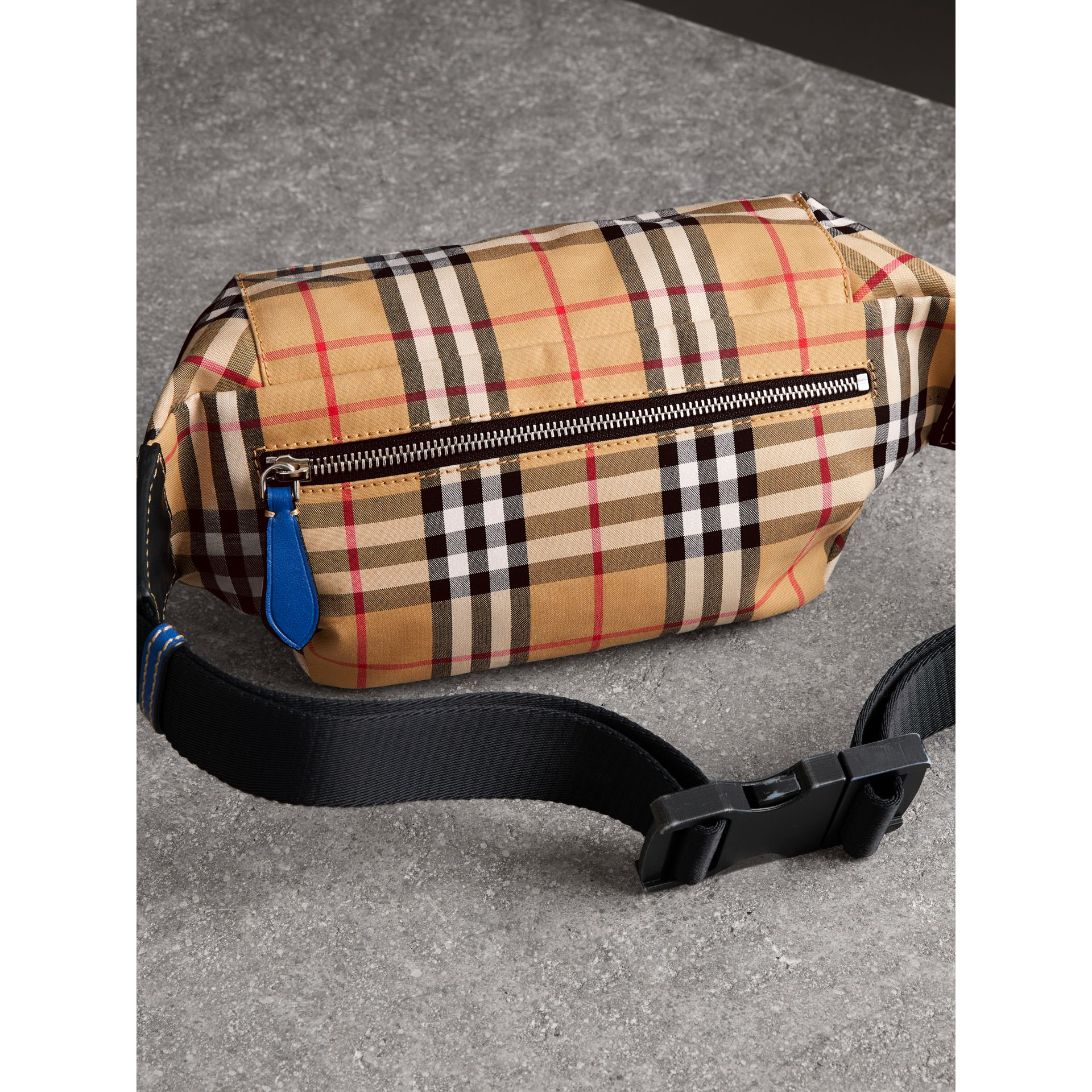 Medium Vintage Check Bum Bag in Canvas Blue | Burberry - gallery image 4