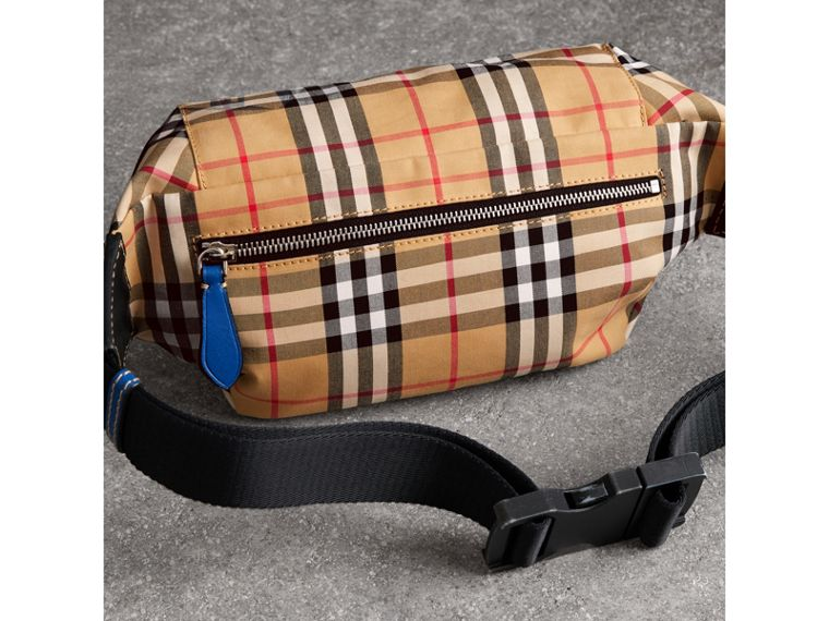 Medium Vintage Check Bum Bag in Canvas Blue | Burberry - cell image 4