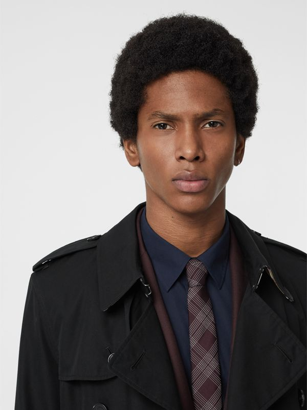 Modern Cut Check Silk Jacquard Tie in Dark Elderberry - Men | Burberry United Kingdom - cell image 2