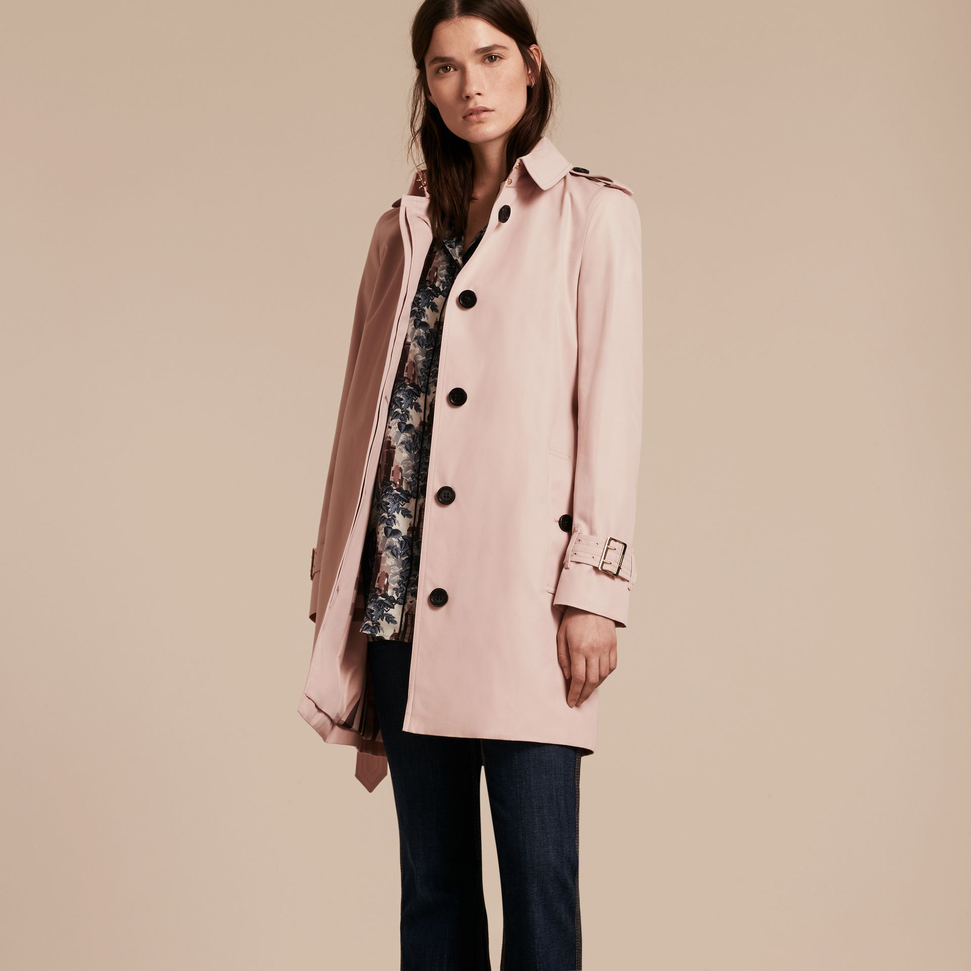 Single-breasted Trench Coat with Metal Buckle Detail Ice Pink - gallery image 8