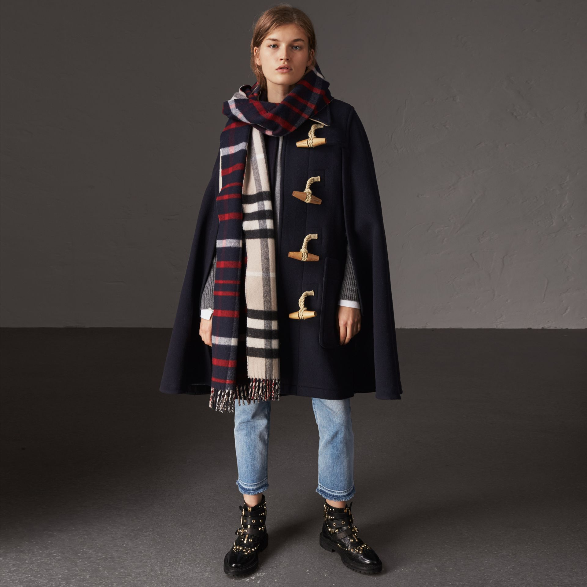Double-faced Wool Blend Duffle Cape in Navy - Women | Burberry Australia - gallery image 0