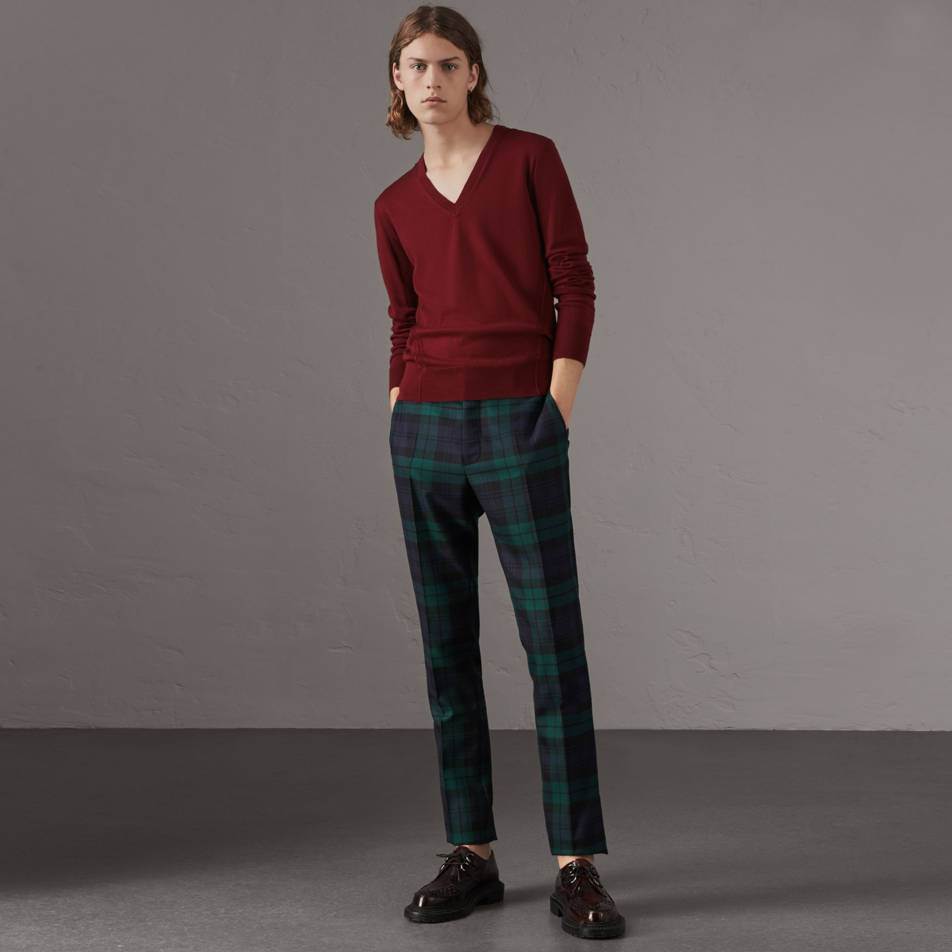 Check Detail Merino Wool V-neck Sweater in Burgundy - Men | Burberry - gallery image 1
