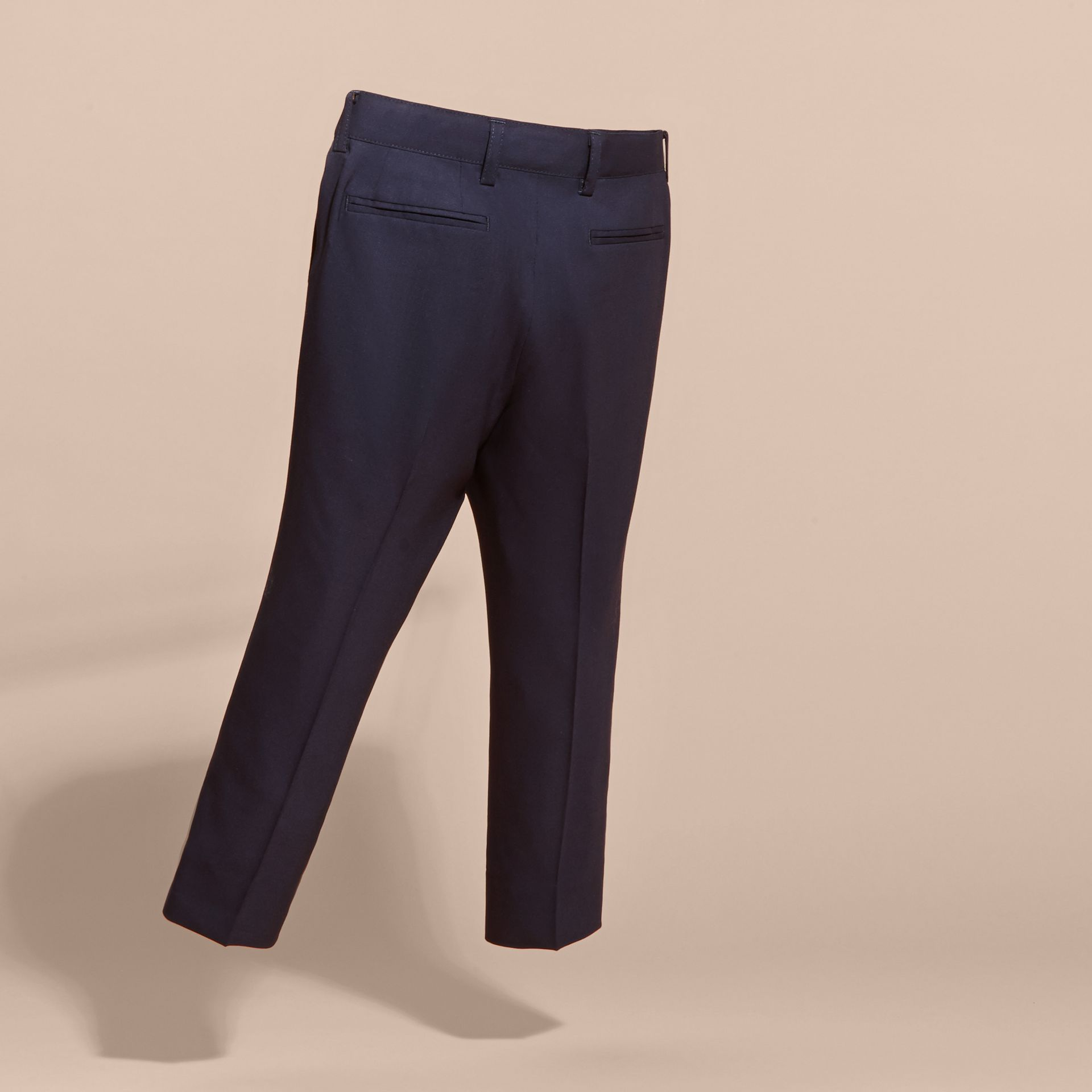 Navy Tailored Wool Trousers Navy - gallery image 4