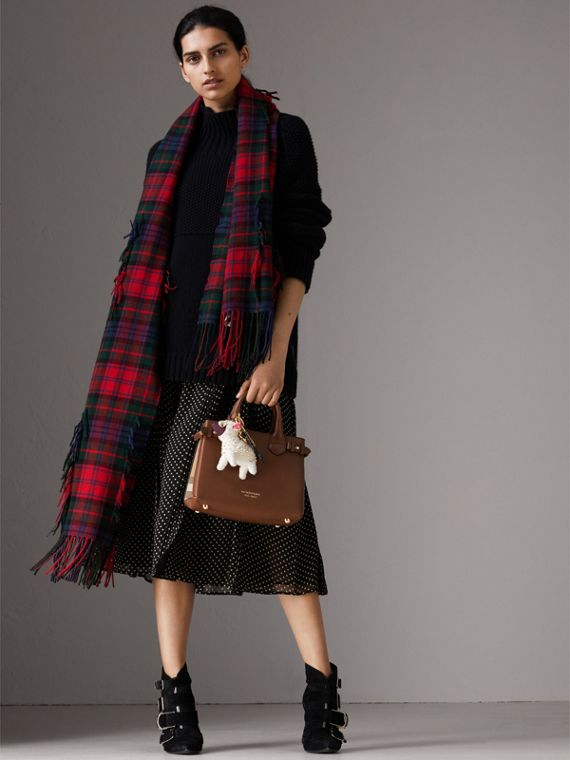 The Small Banner in Leather and House Check in Tan - Women | Burberry Hong Kong - cell image 3