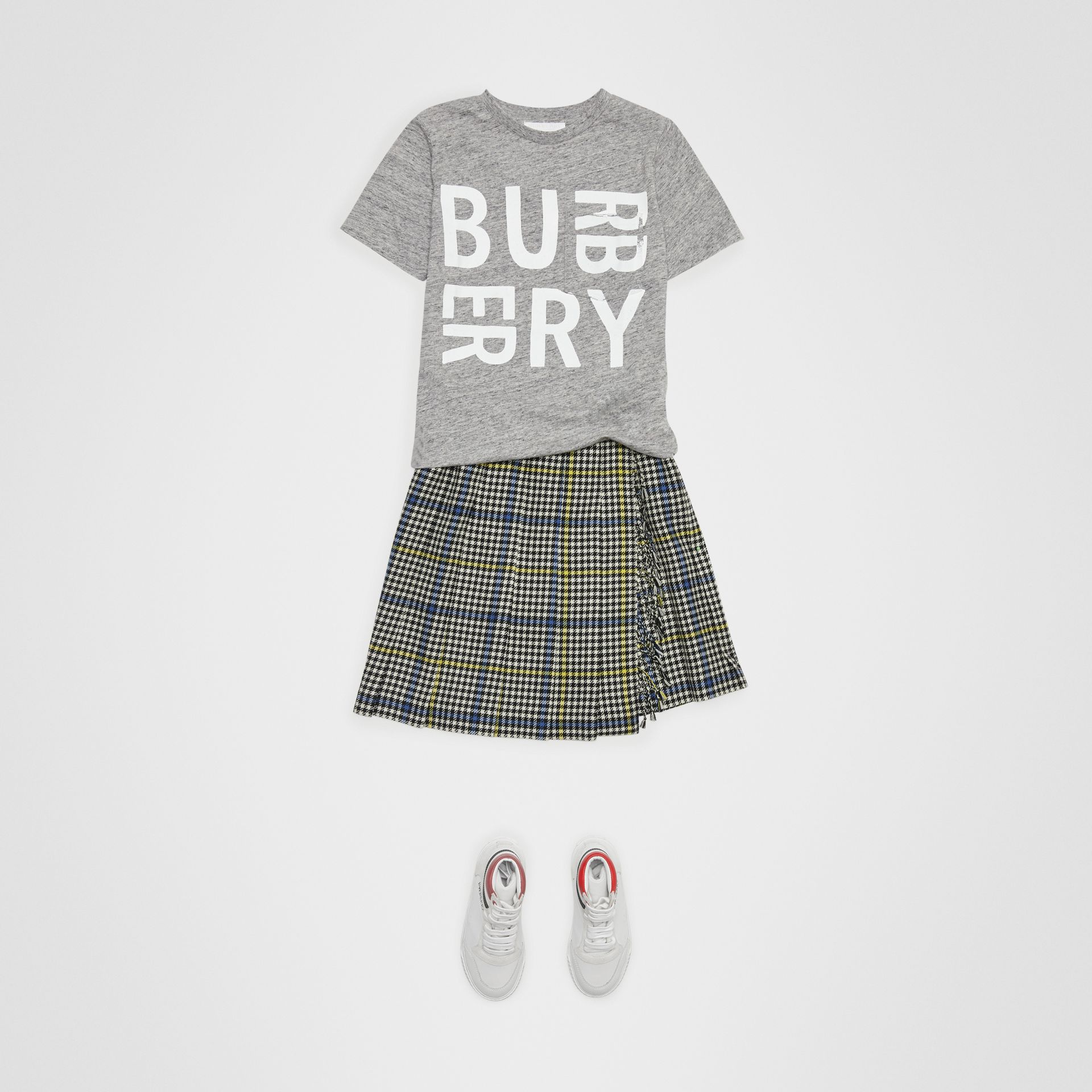 Logo Print Cotton Blend T-shirt in Grey Melange | Burberry - gallery image 2