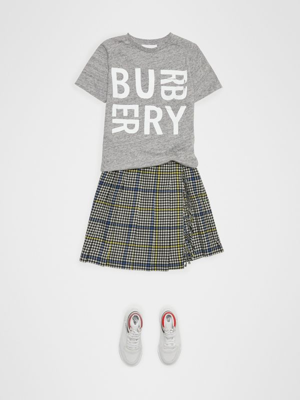 Logo Print Cotton Blend T-shirt in Grey Melange | Burberry - cell image 2