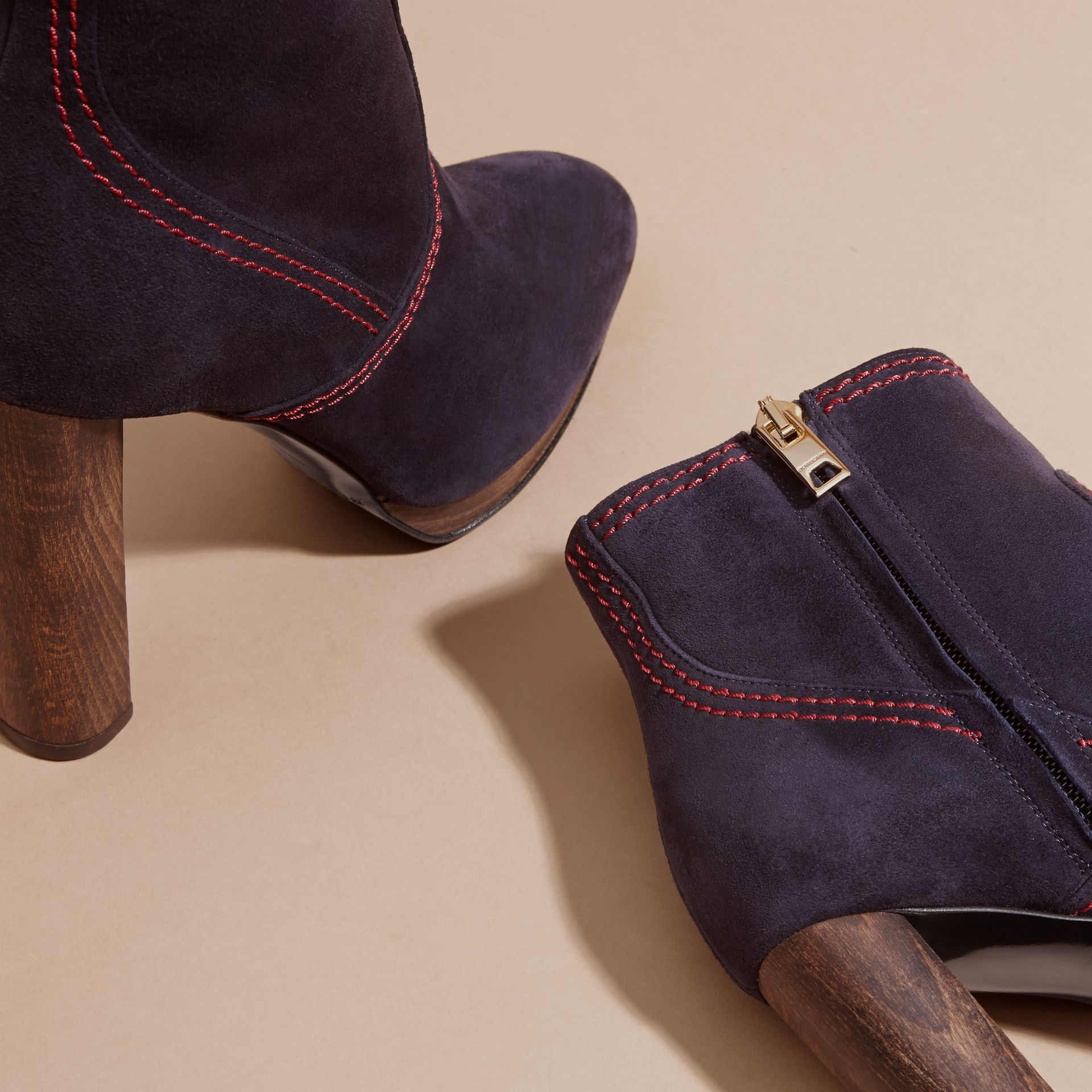 Suede Ankle Boots in Navy | Burberry United States - gallery image 1