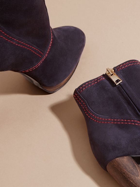 Suede Ankle Boots in Navy | Burberry United States - cell image 1