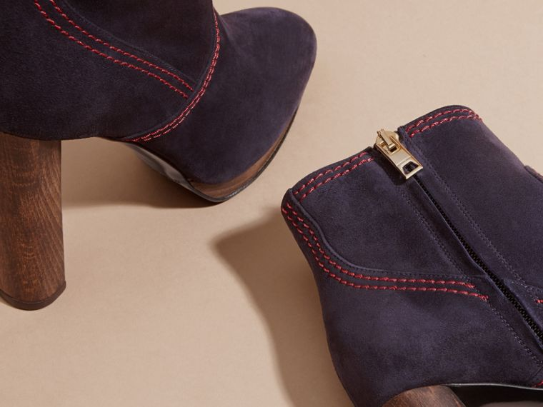 Navy Suede Ankle Boots Navy - cell image 1