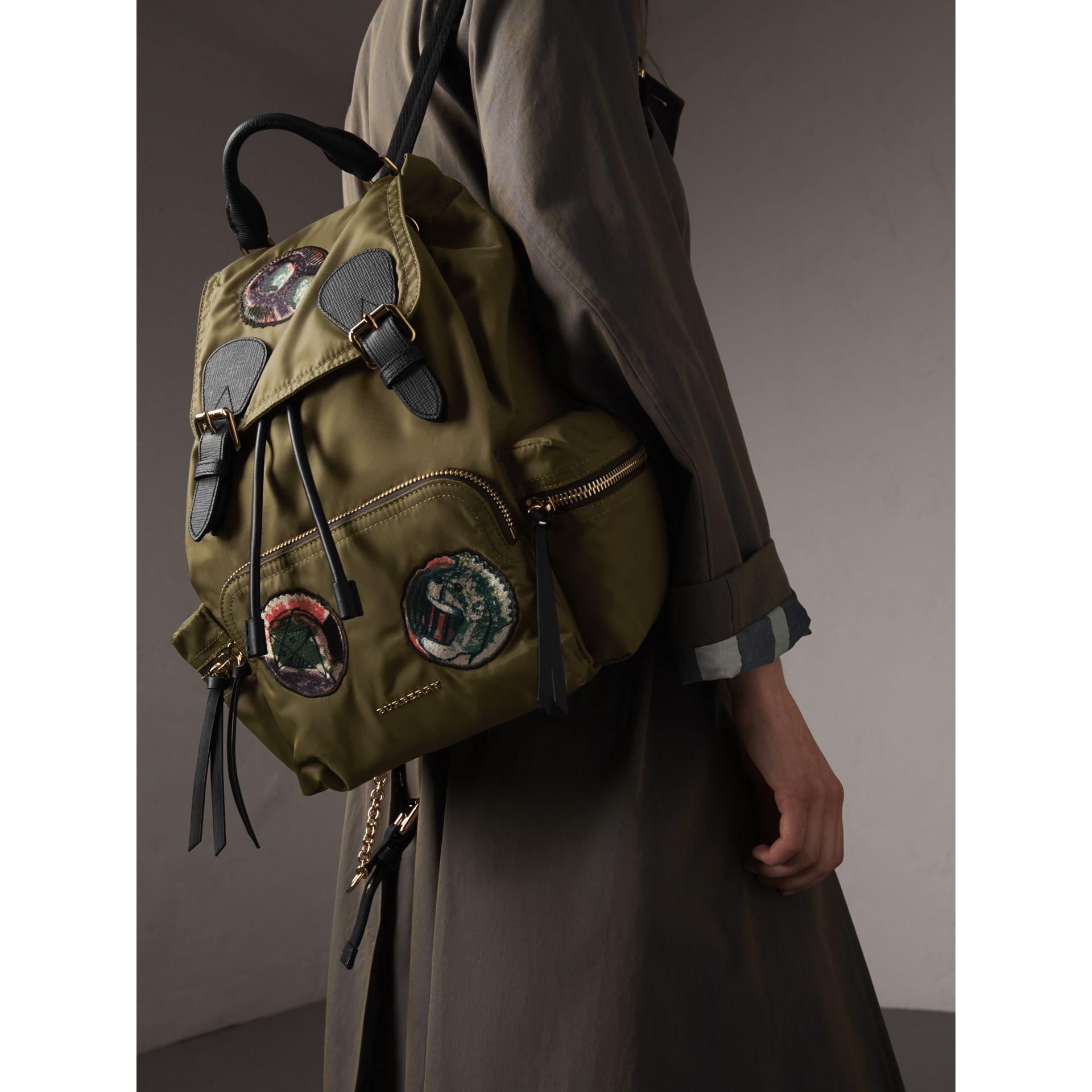The Medium Rucksack in Technical Nylon with Pallas Heads Appliqué in Canvas Green - Women | Burberry - gallery image 3