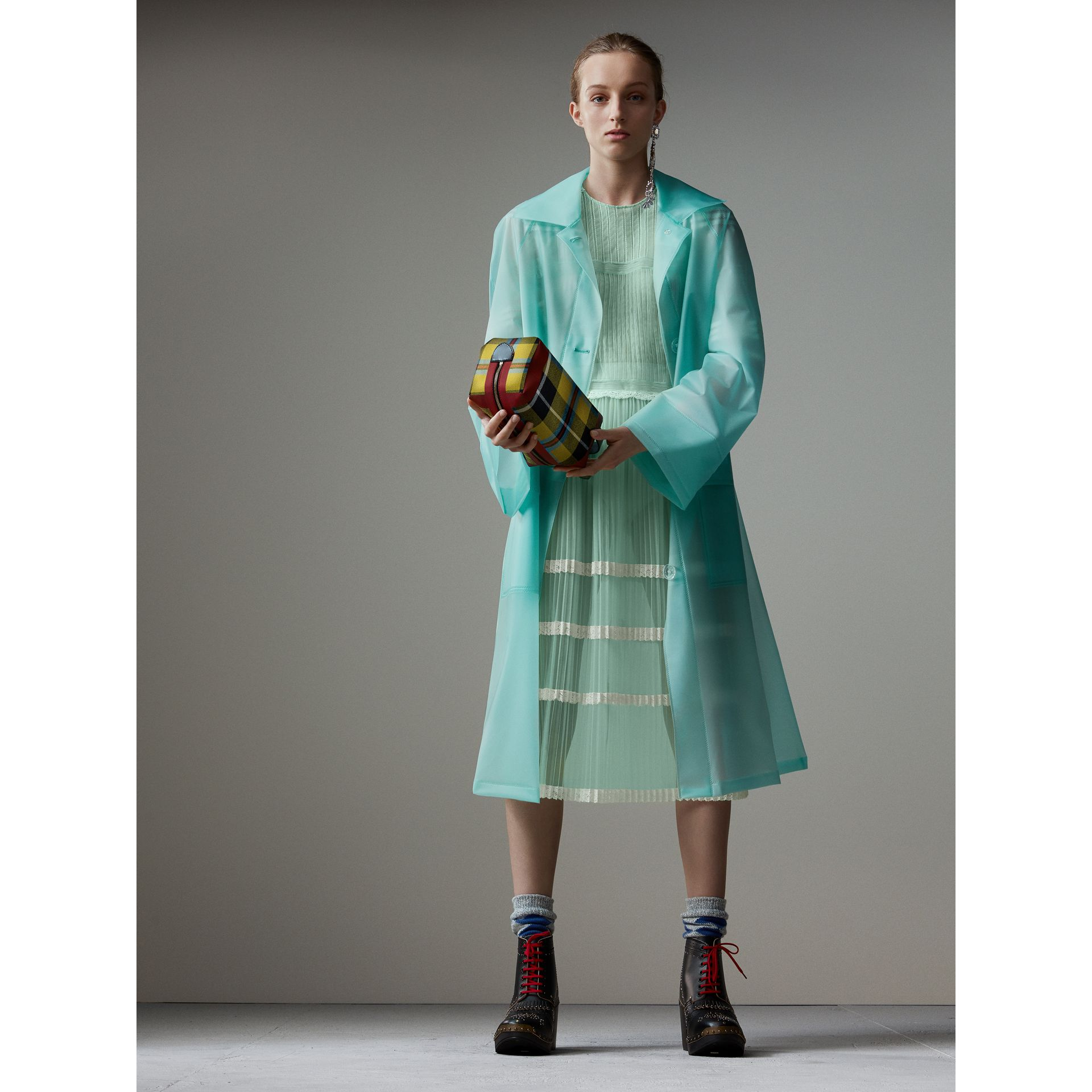English Lace Trim Pleated Tulle Dress in Light Mint - Women | Burberry - gallery image 6