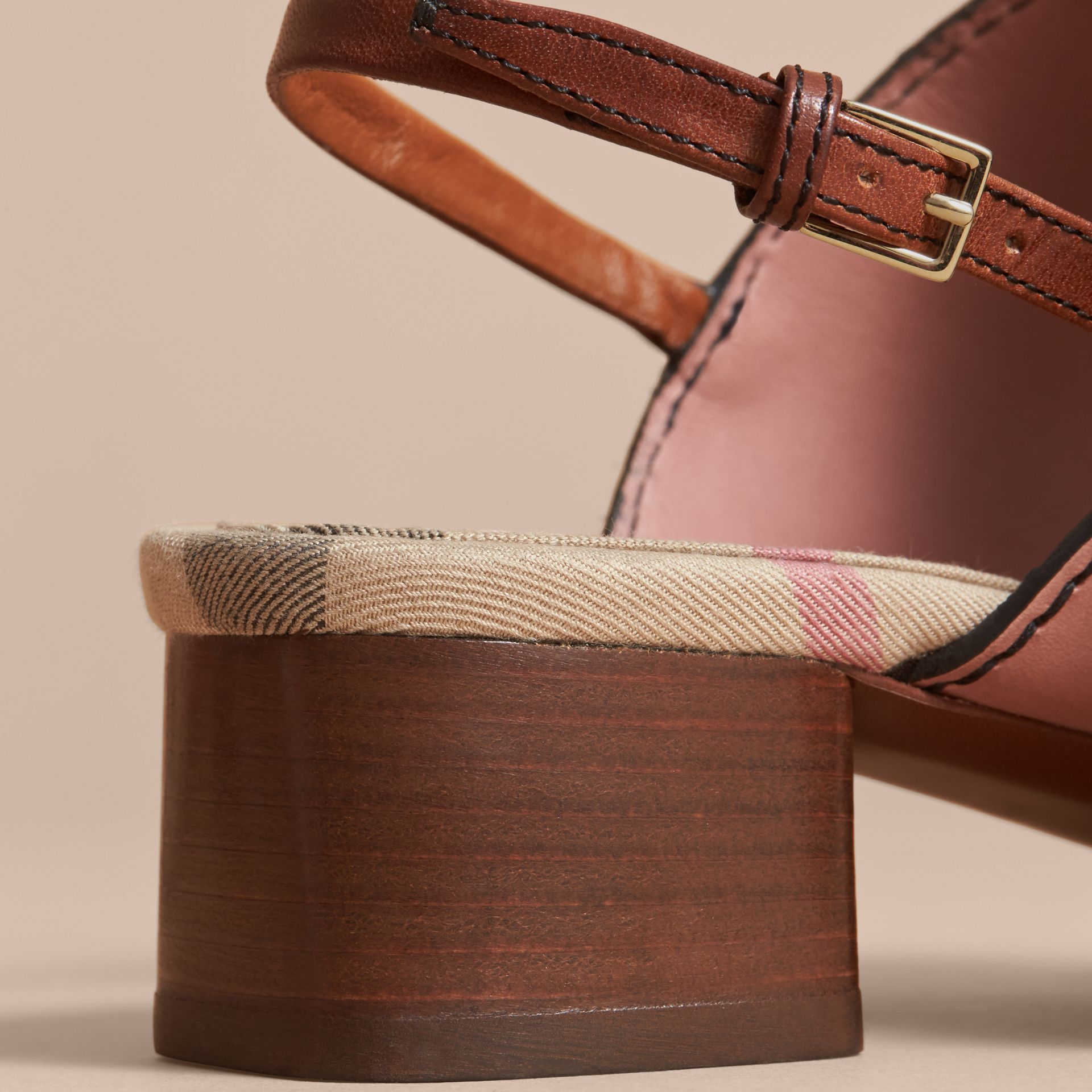 Buckle Detail Colour Block Leather Sandals - Women | Burberry - gallery image 5