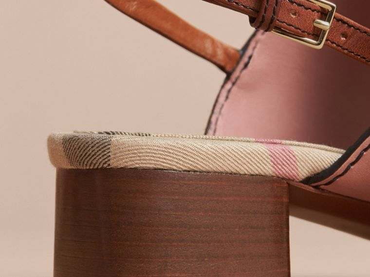 Buckle Detail Colour Block Leather Sandals in Nude Pink - Women | Burberry - cell image 4
