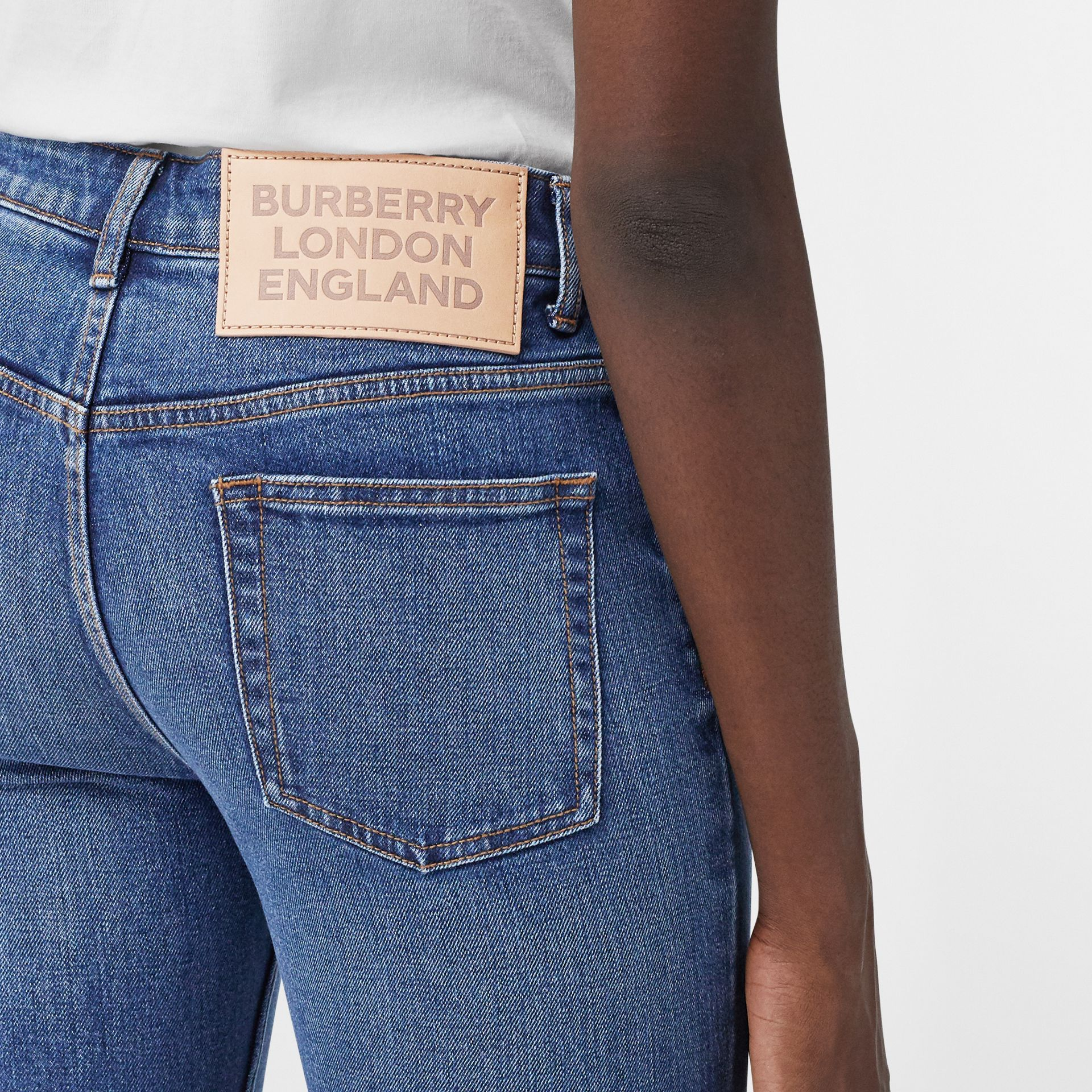 Skinny Fit Japanese Denim Jeans in Indigo Blue - Women | Burberry - gallery image 1