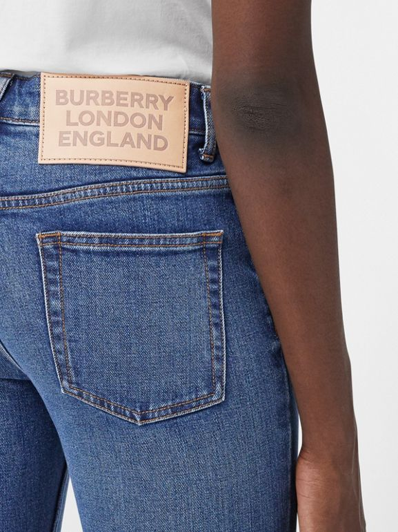 Skinny Fit Japanese Denim Jeans in Indigo Blue - Women | Burberry - cell image 1