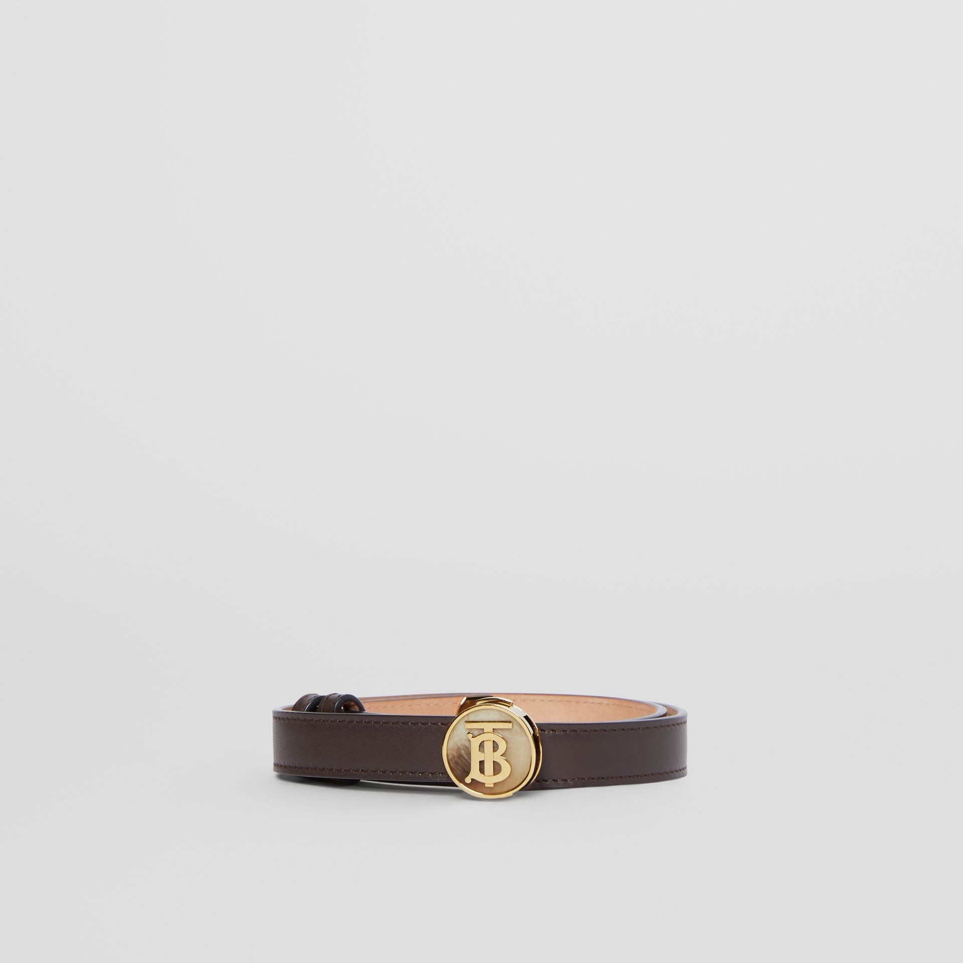 Monogram Motif Leather Belt in Deep Brown - Women | Burberry - gallery image 3