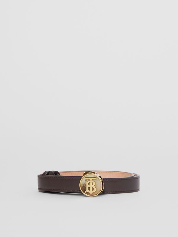Monogram Motif Leather Belt in Deep Brown - Women | Burberry - cell image 3