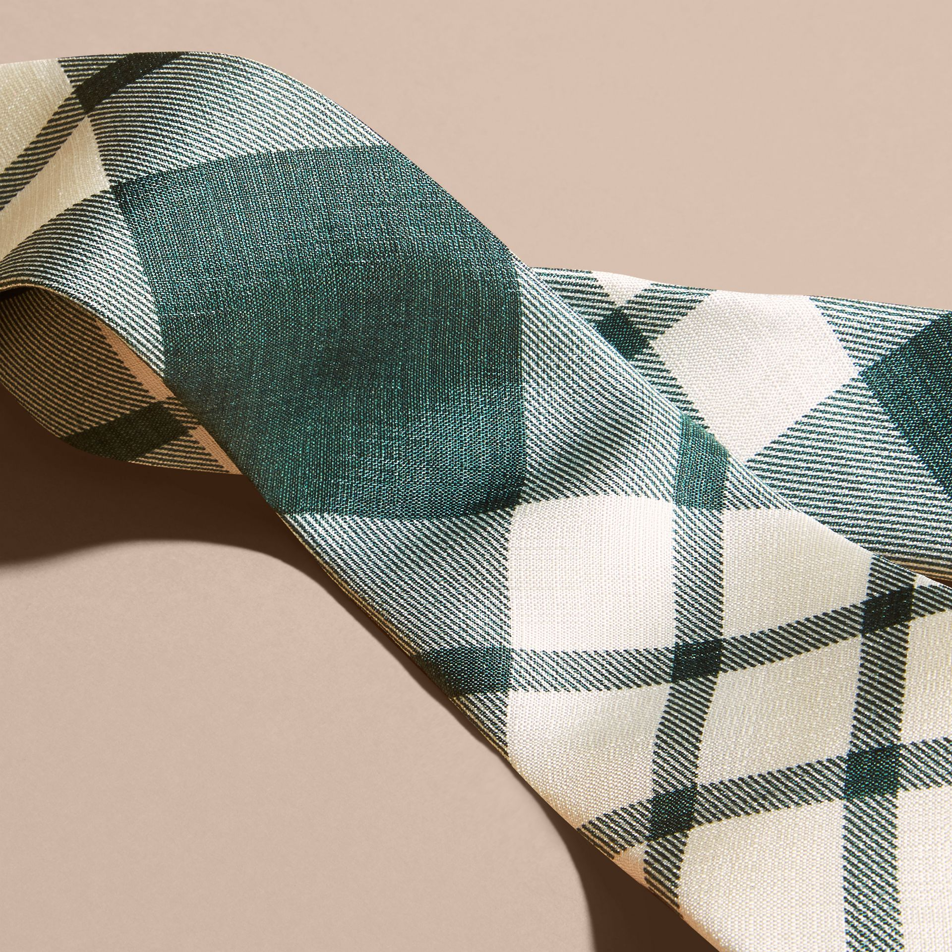 Deep green Slim Cut Check Silk Tie Deep Green - gallery image 2
