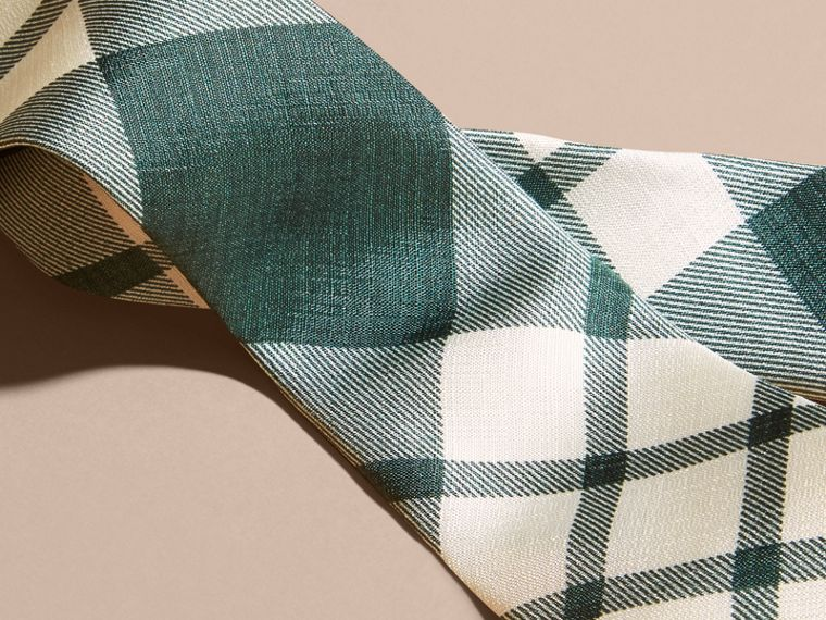 Deep green Slim Cut Check Silk Tie Deep Green - cell image 1